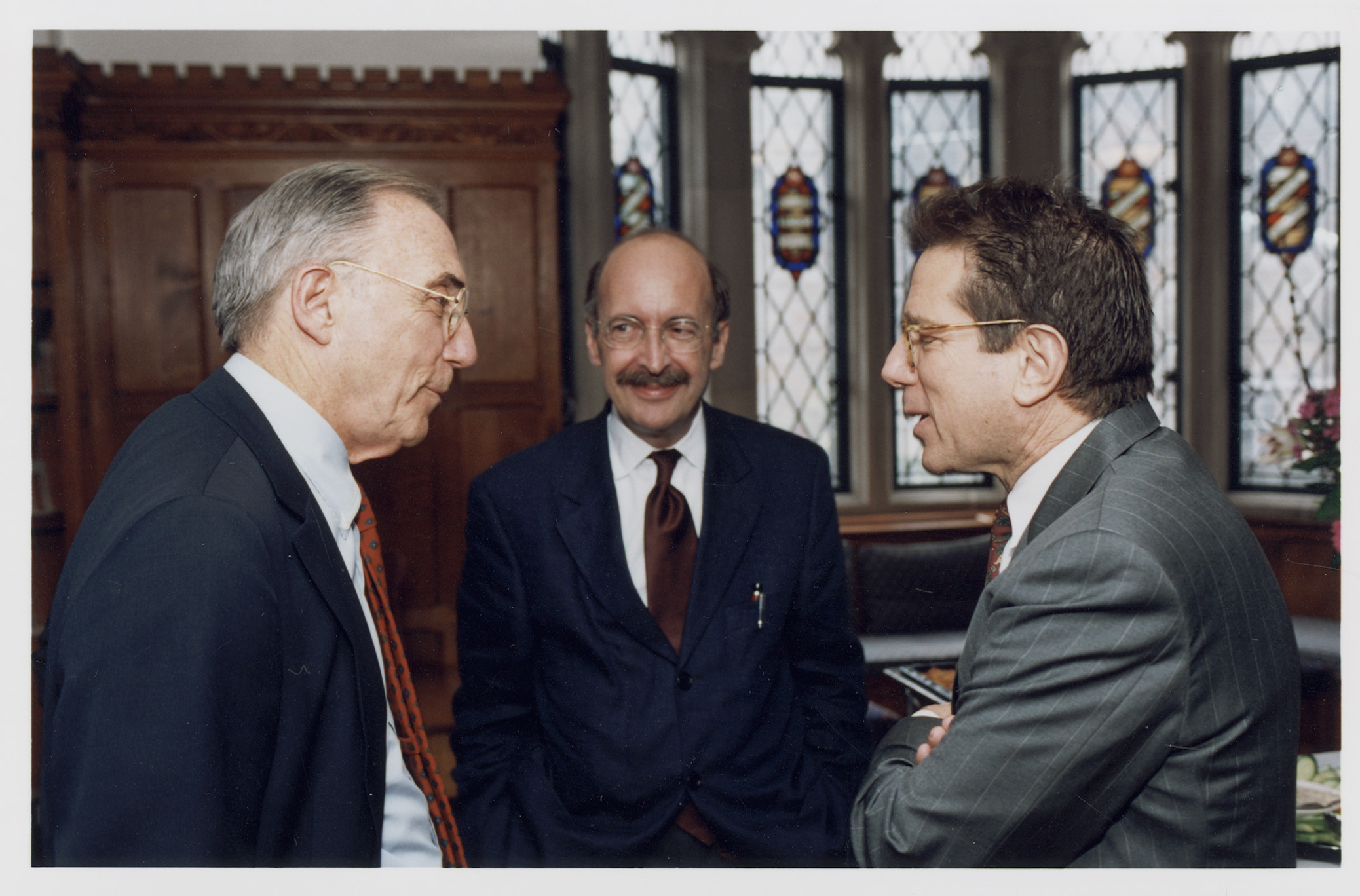 Robert Todd Lang '47, NYU Law Prof. William T. Allen, and YLS Dean Anthony Kronman '75