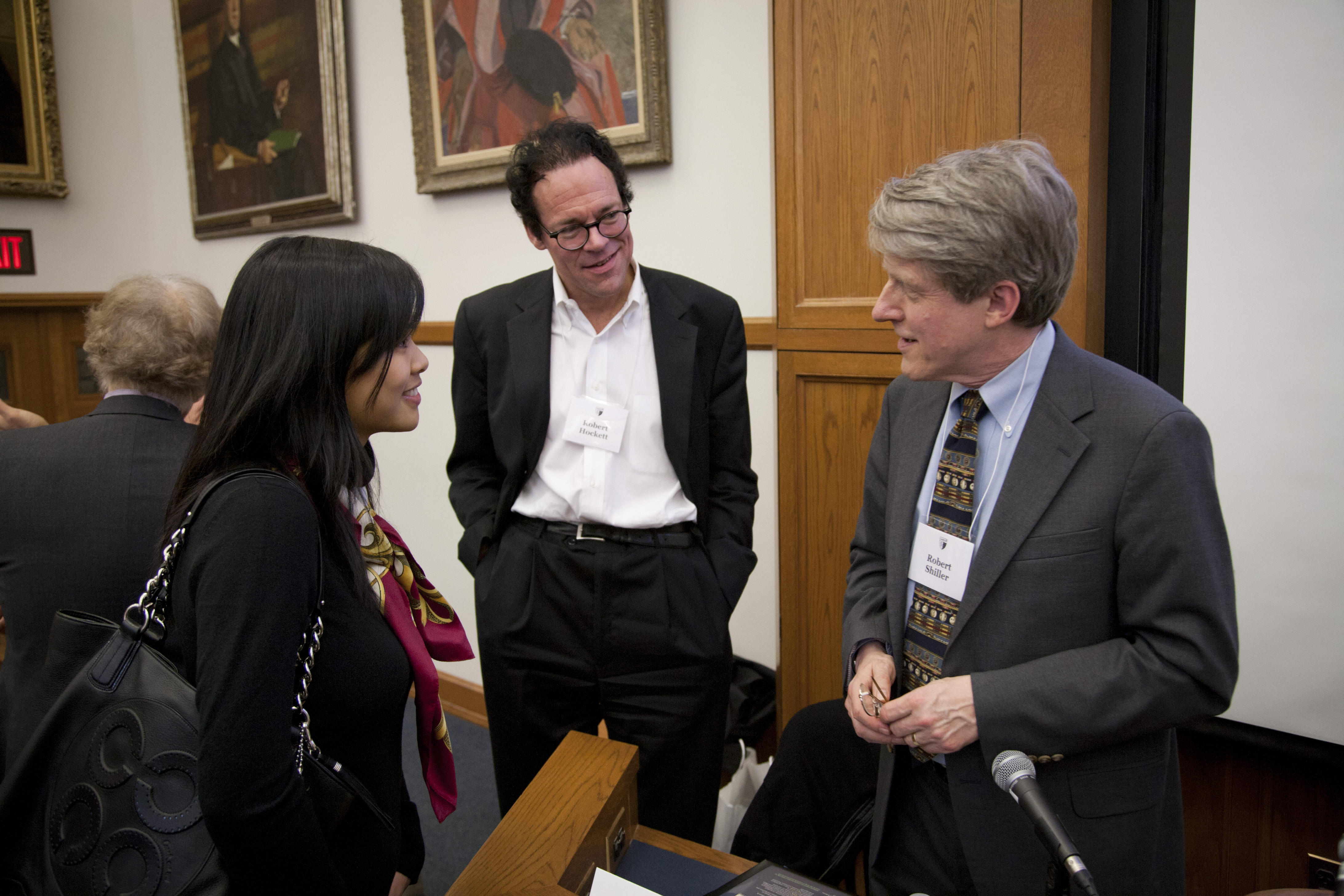 Cornell Law Prof. Robert Hockett LLM '03, JSD '06 and Yale Econ. Prof. Robert Shiller (middle and right)