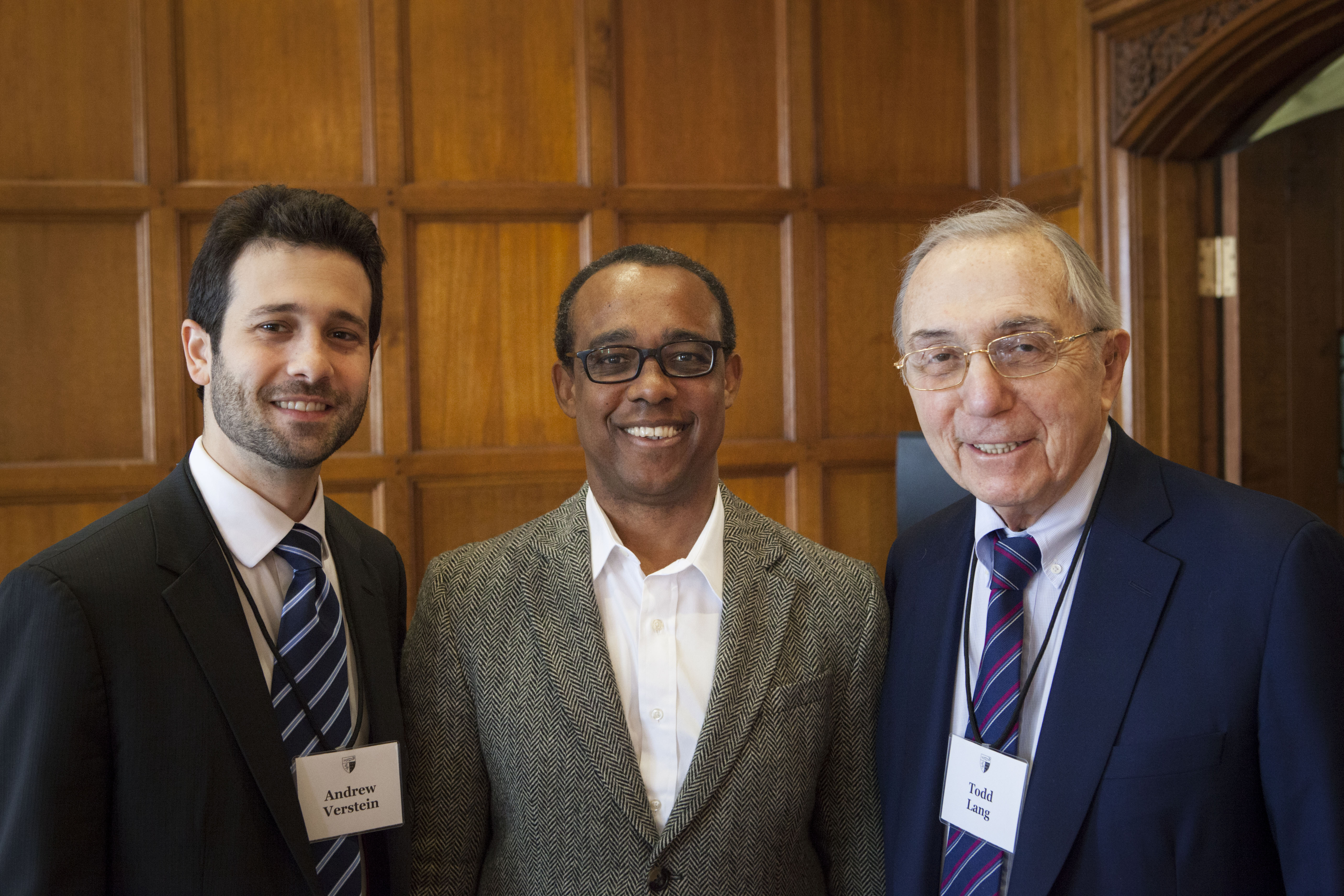 Andrew Verstein '09, YLS Prof. Richard Brooks, and Robert Todd Lang '47