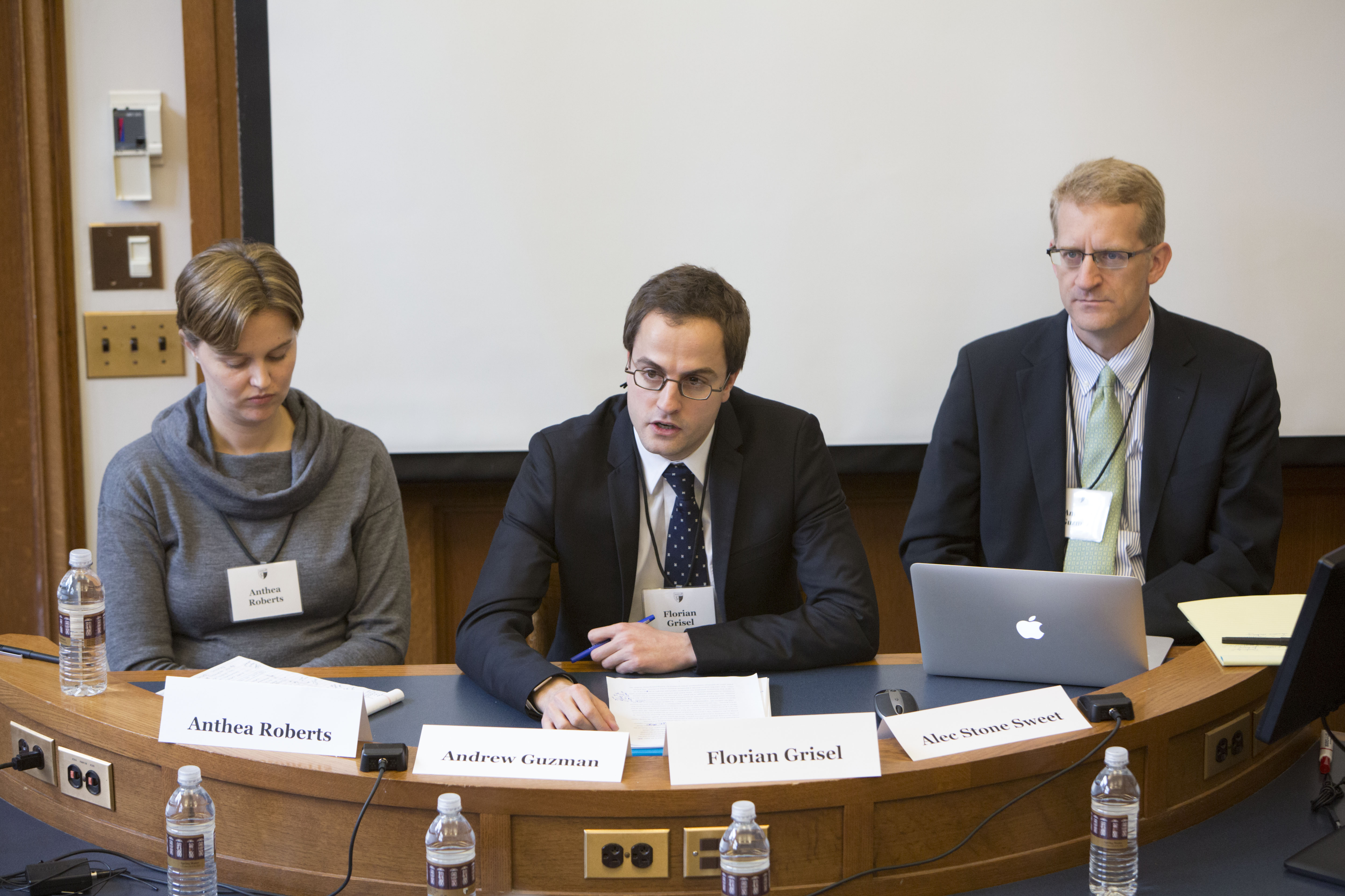 LSE Prof. Anthea Roberts, Florian Grisel LLM '10, and Berkeley Law Prof. Andrew T. Guzman