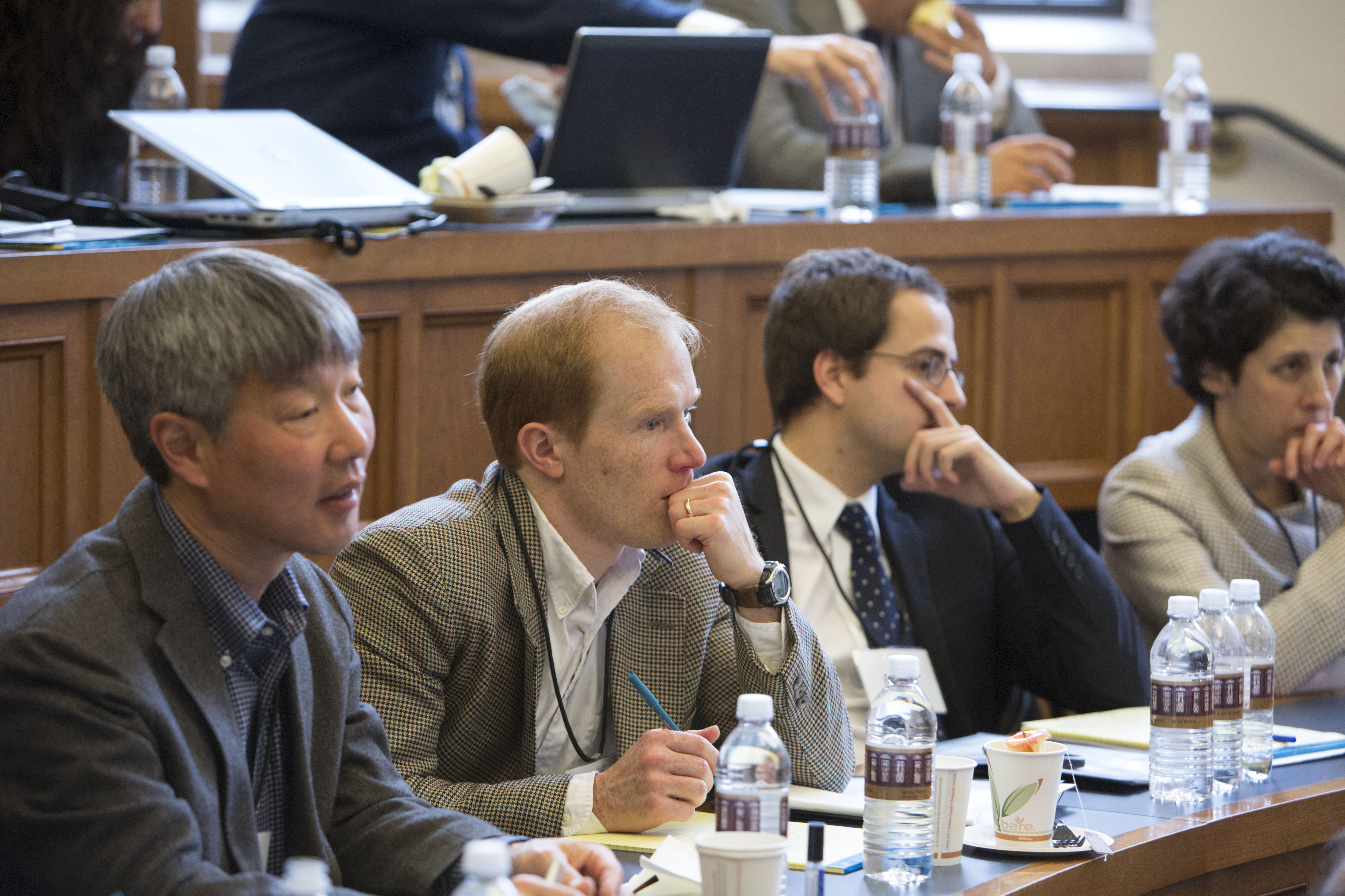 George Mason Law Prof. Bruce Kobayashi, Texas Law Prof. Abraham Wickelgren, Florian Grisel LLM '10, and Anne Marie Whitesell