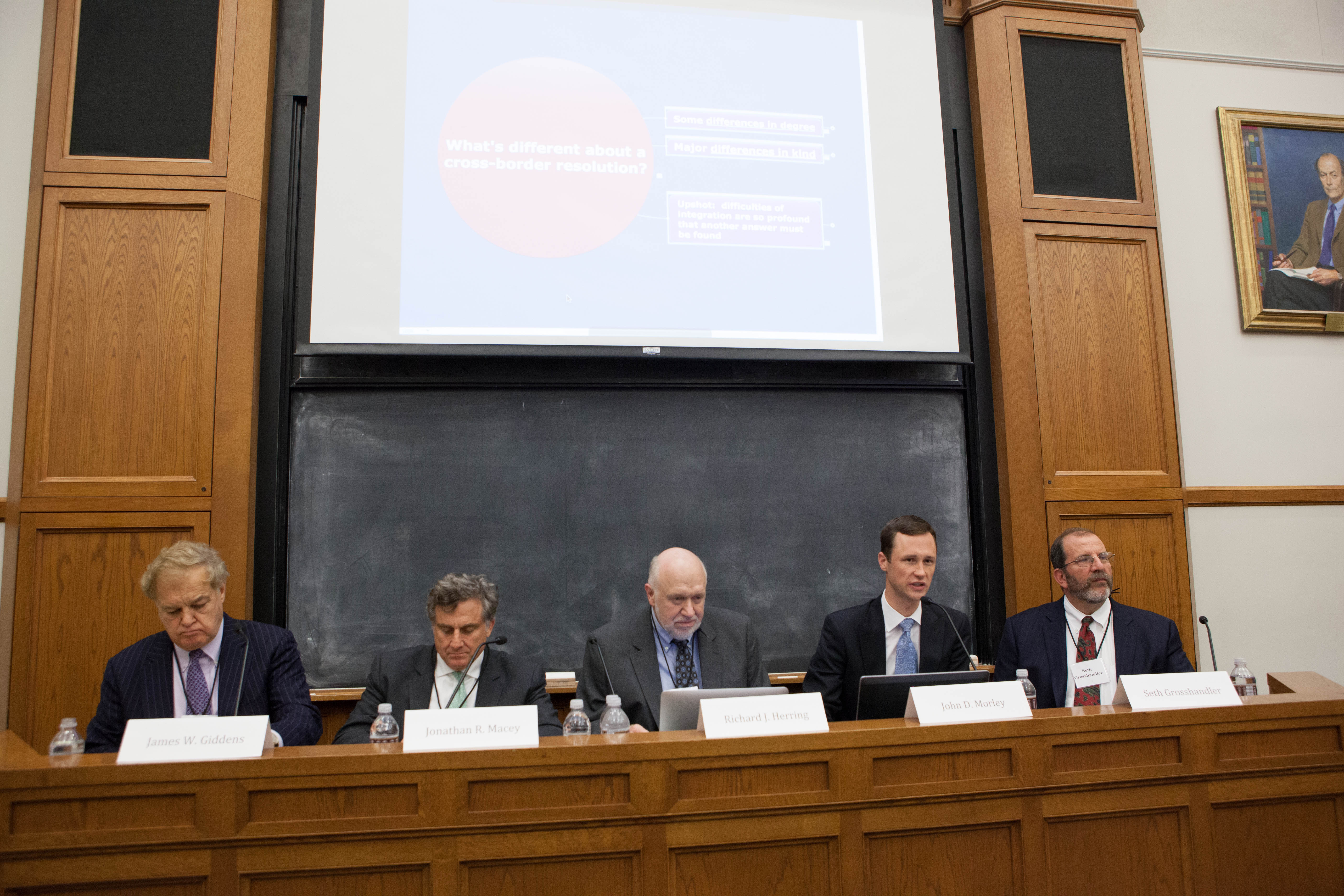 James W. Giddens '66, YLS Prof. Jonathan Macey '82, Wharton Prof. Richard Herring, YLS Prof. John Morley '06, and Seth Grosshandler