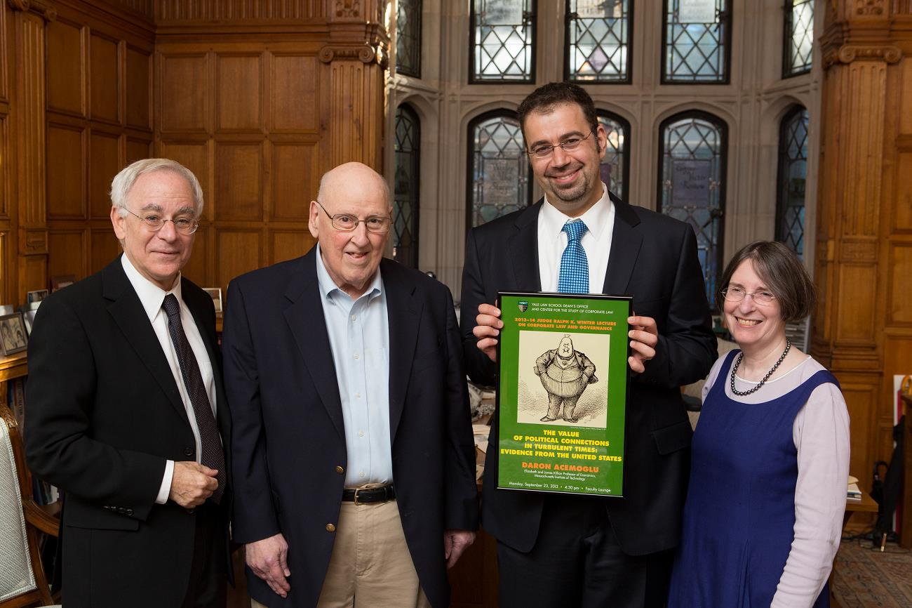 YLS Dean Robert Post '77, Judge Ralph Winter '60, MIT Econ. Prof. Daron Acemoglu, and YLS Prof. and Center Dir. Roberta Romano '80