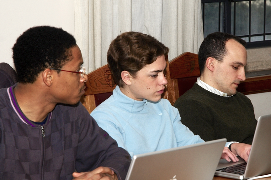 Yahonnes Cleary '09, Solene Romieu '09, and Stephen Fisher '09