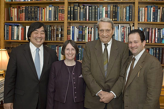 YLS Dean Harold Hongju Koh, YLS Prof. and Center Dir. Roberta Romano '80, Colloquium honoree Marvin Chirelstein, and Mark Campisano '80