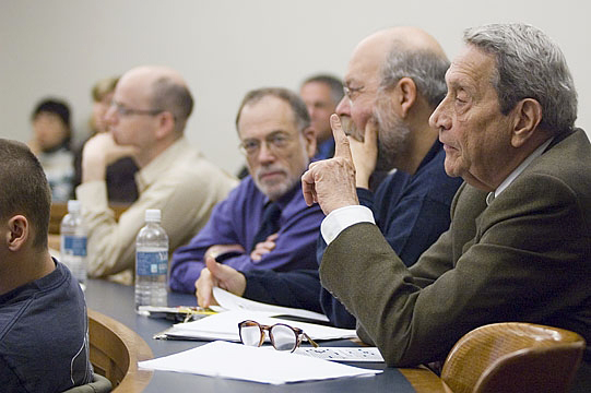 YLS Profs. Al Klevorick and Michael Graetz look on as Colloquium honoree Marvin Chirelstein comments