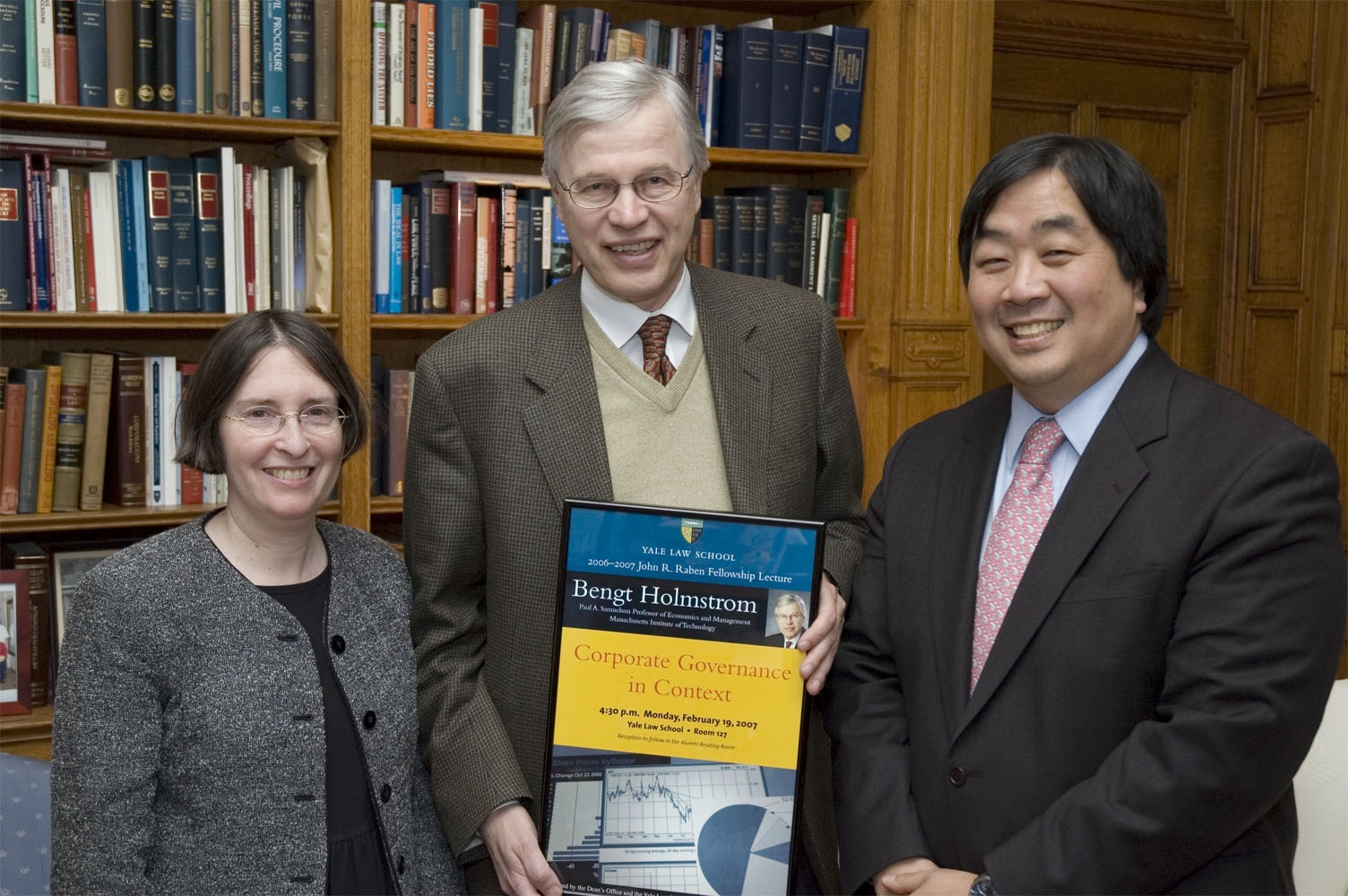 YLS Prof. and Center Dir. Roberta Romano '80, MIT Econ. Prof. Bengt Holmstrom, and YLS Dean Harold Koh