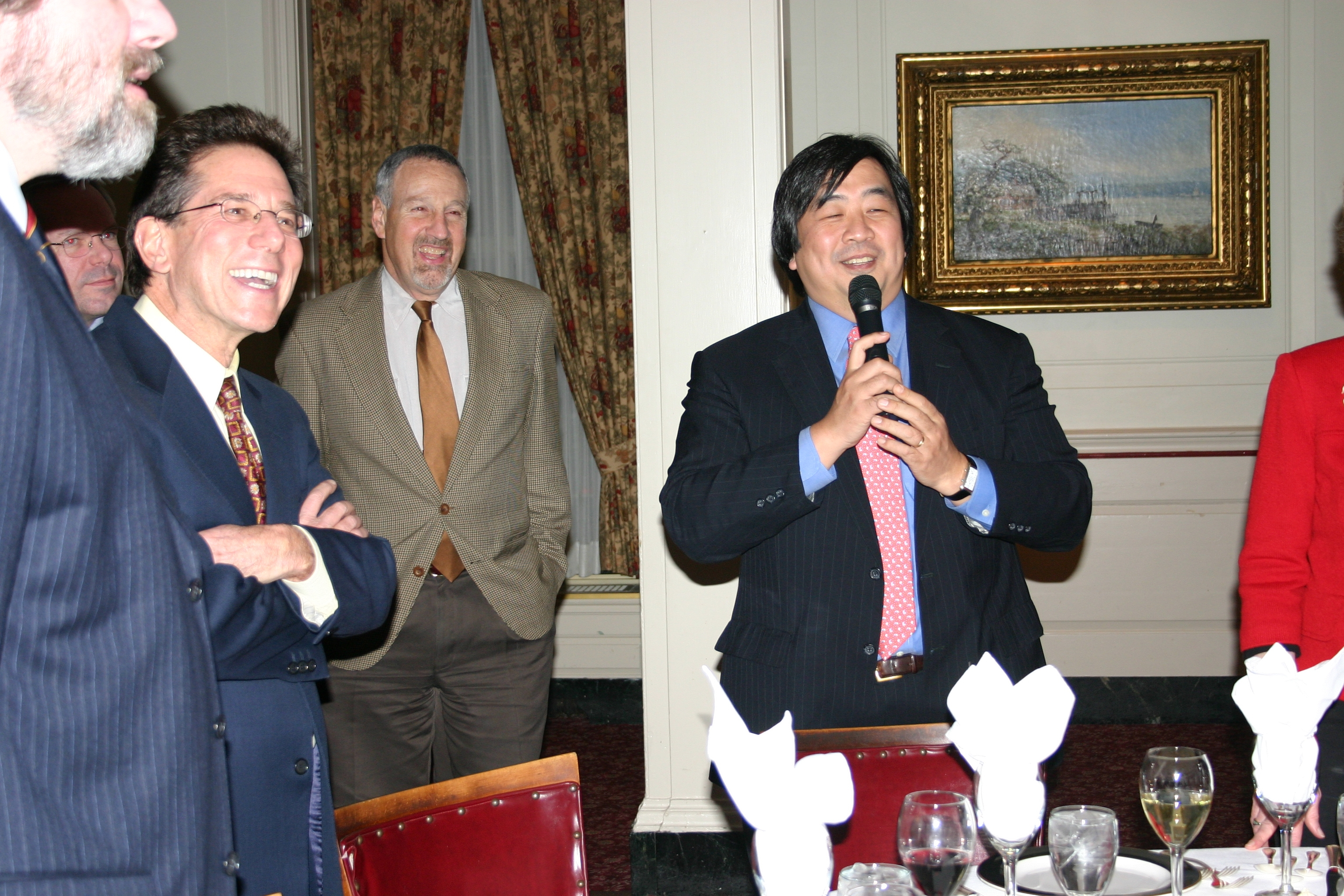 YLS Profs. Anthony Kronman '75 and Peter Schuck and YLS Dean Harold Koh