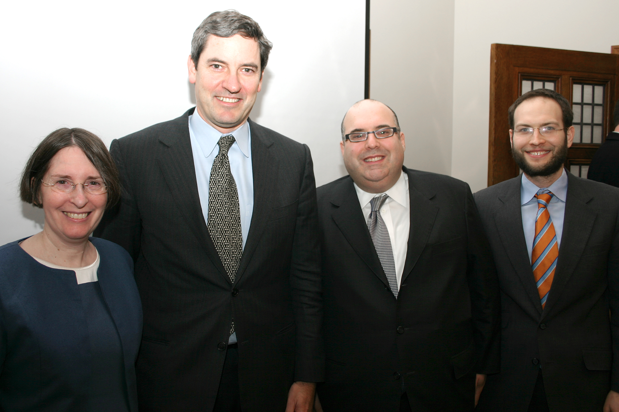 YLS Prof. and Center Dir. Roberta Romano '80, Eric S. Robinson '83, Mitchell Presser '89, and YLS Prof. Yair Listokin '05