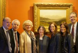 (From left) Hon. Leo Strine, Jr., Dean Robert Post '77, Sandra Wasserman, Roberta Romano '80, Marla Wasserman, Debra Wasserman Glasser, and Steven Rosenblum '82