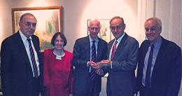Robert Todd Lang '47, Roberta Romano '80, Alan Schwartz '64, Stephen Fraidin '64, and Dean Robert Post '77