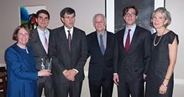 Roberta Romano '80, William DiBlasi, Gandolfo V. DiBlasi '78, Dean Robert Post '77, Richard DiBlasi, and Robi DiBlasi