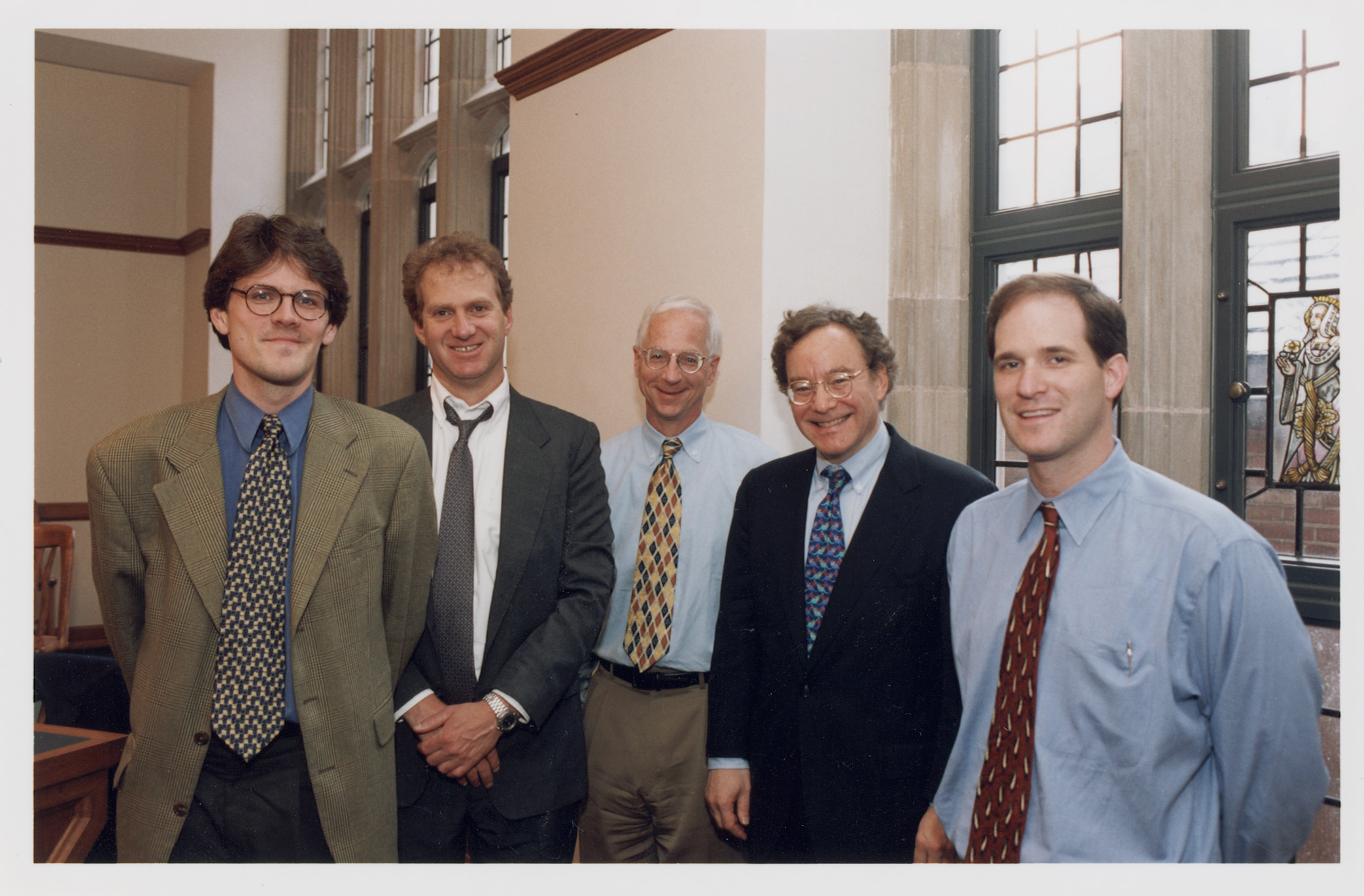 Harvard Law Prof. John Coates, Stanford Law Prof. Michael Klausner '81, YLS Prof. Alan Schwartz '64, Columbia Law Prof. Jeffrey Gordon, and NYU Law Prof. Robert Daines '92