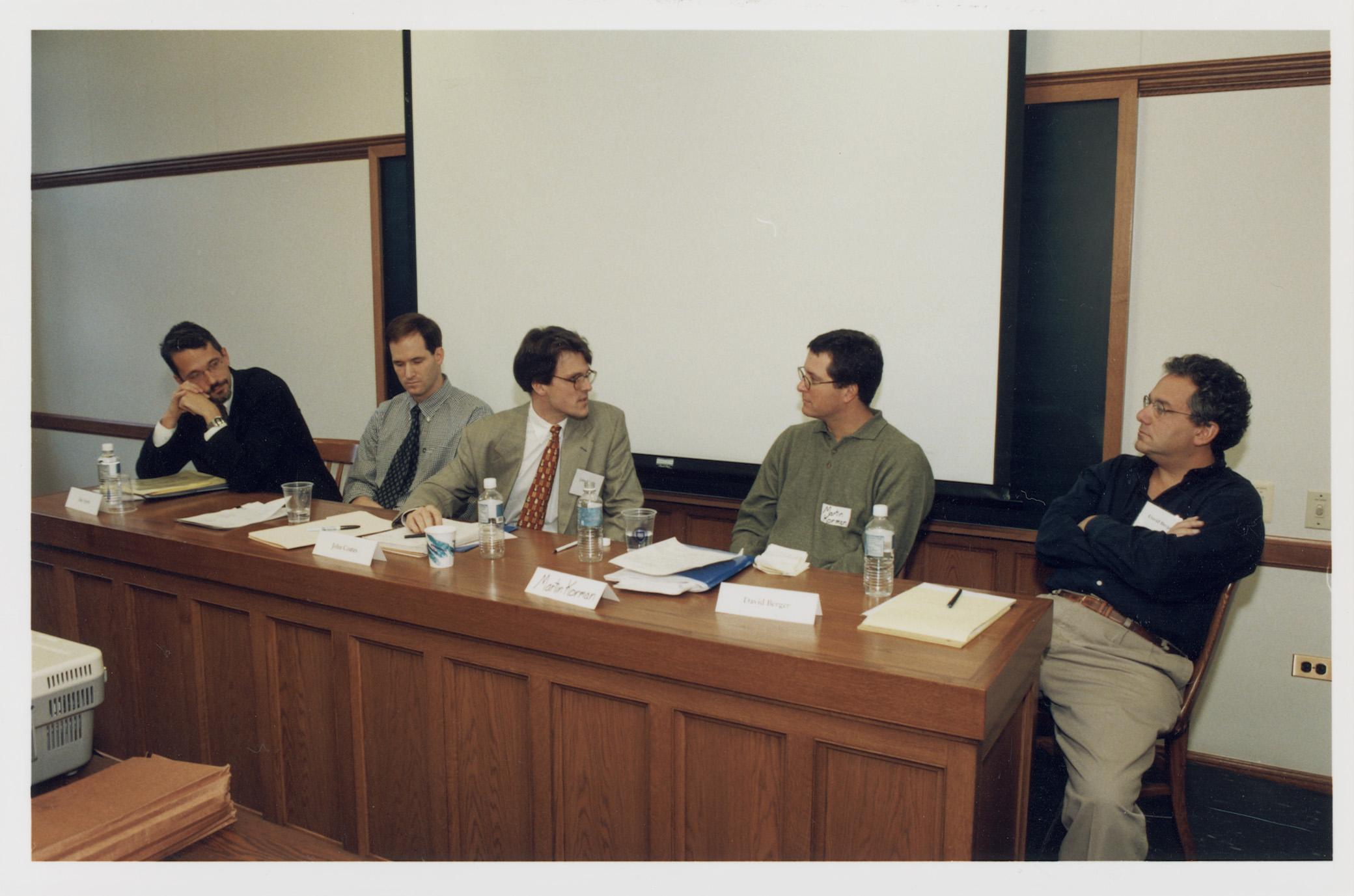 YLS Prof. Ian Ayres '86, NYU Law Prof. Robert Daines '92, Harvard Law Prof. John Coates, Martin Korman '89, and David Berger