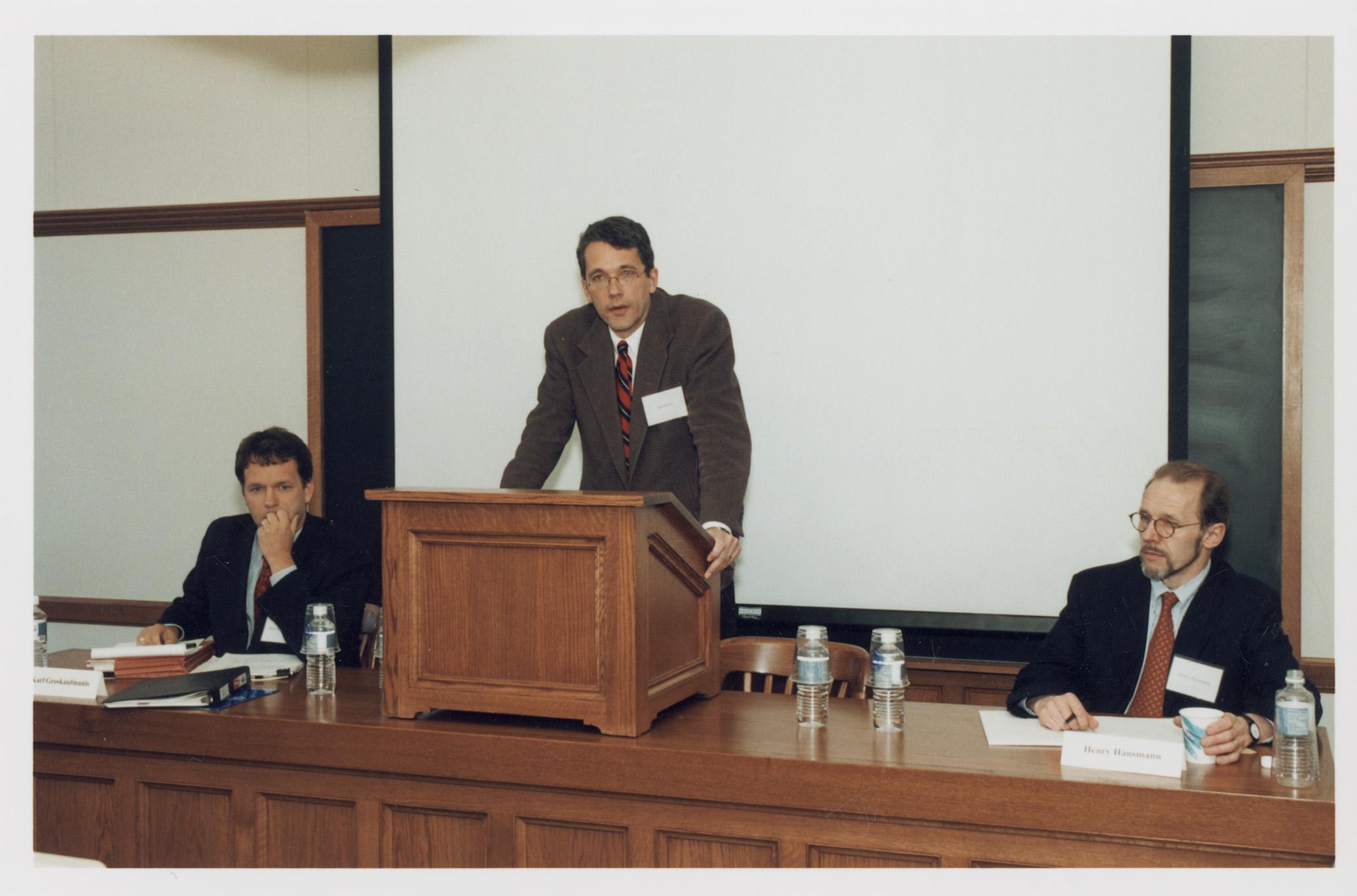 Karl Groskaufmanis and YLS Profs. Ian Ayres '86 and Henry Hansmann '74