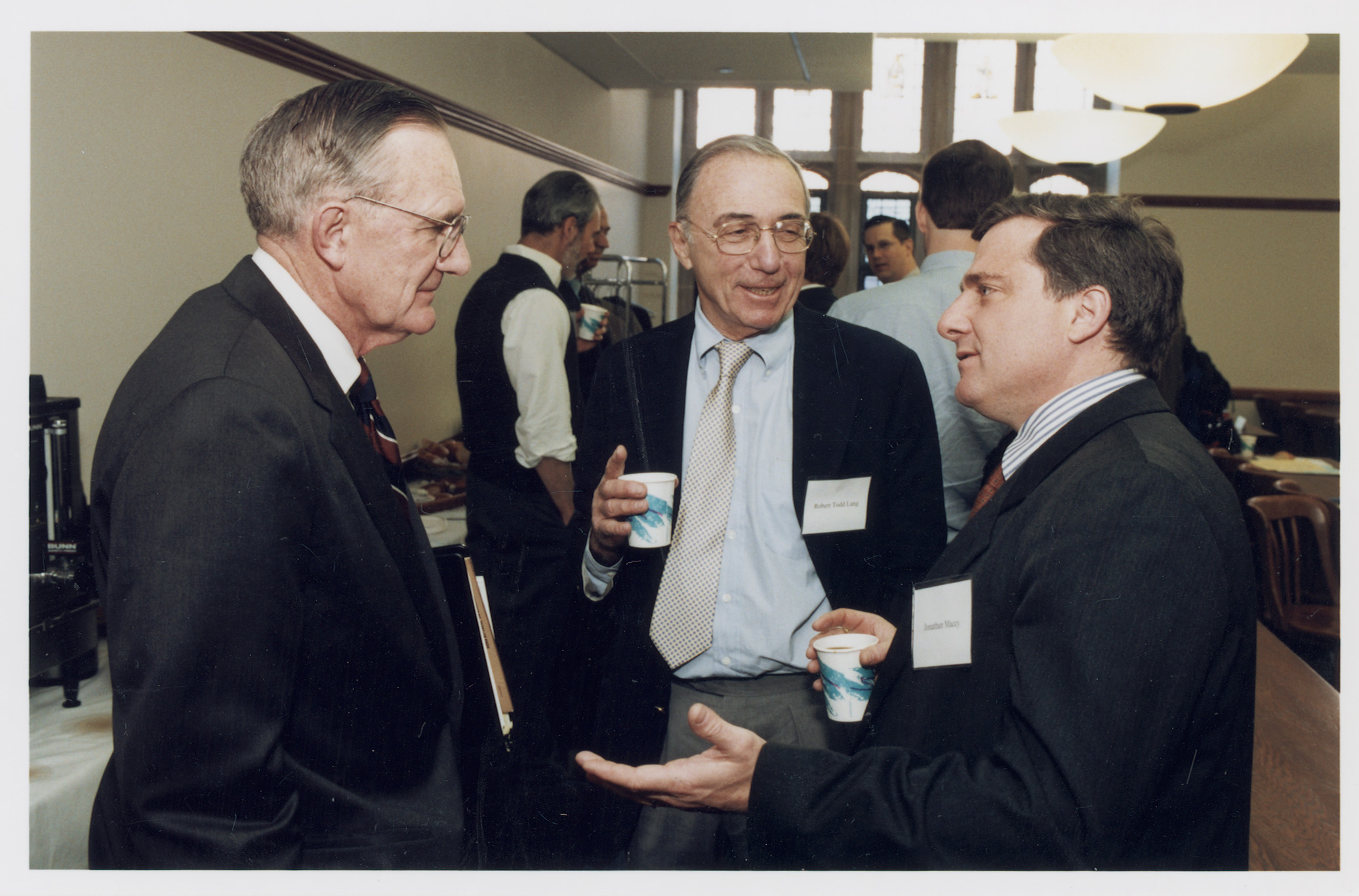 Curtis H. Barnette '62, Robert Todd Lang '47, and Cornell Law Prof. Jonathan Macey '82
