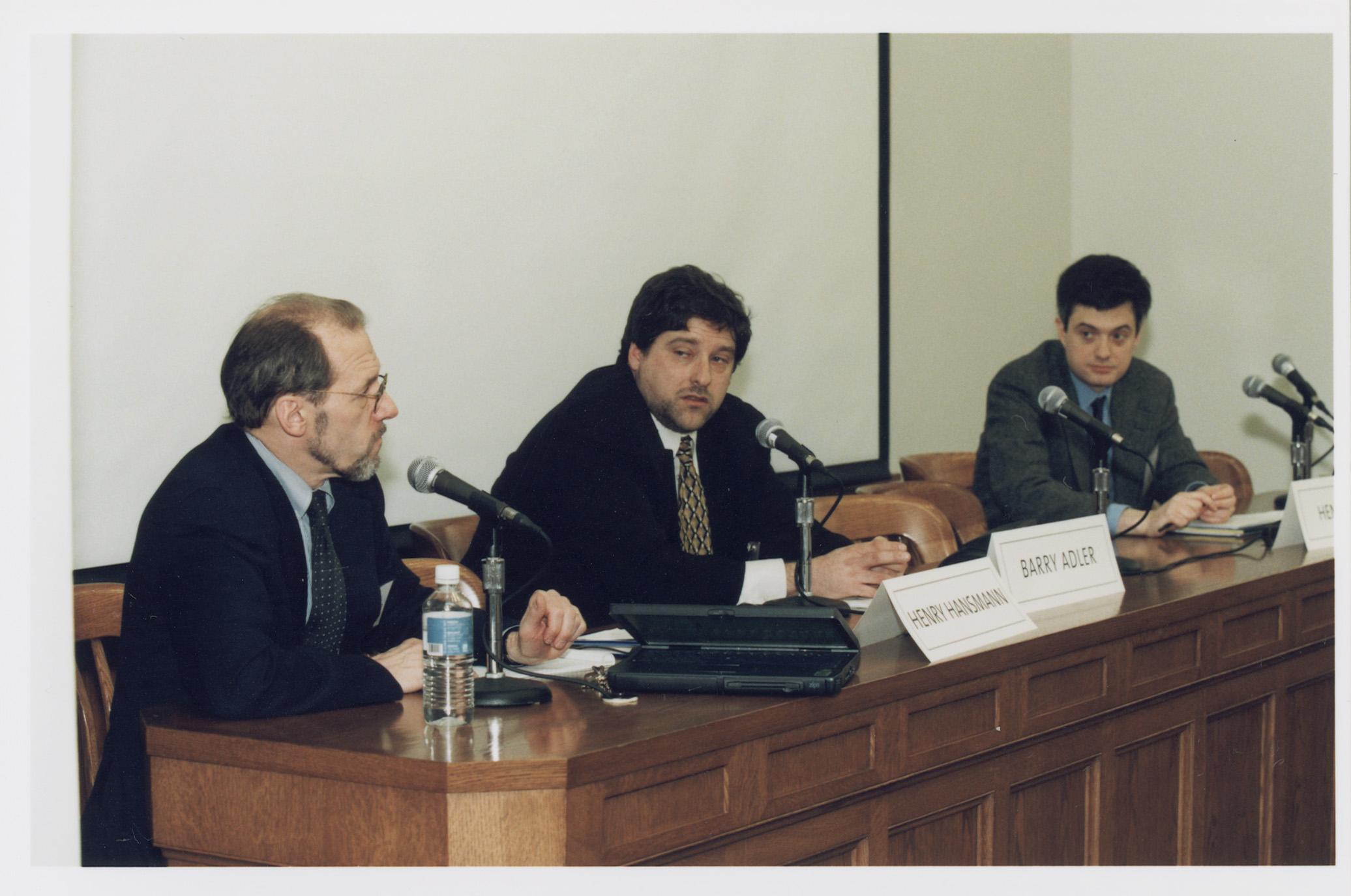 YLS Prof. Henry Hansmann '74, NYU Law Prof. Barry E. Adler, and Visiting YLS Prof. Henry Smith '96