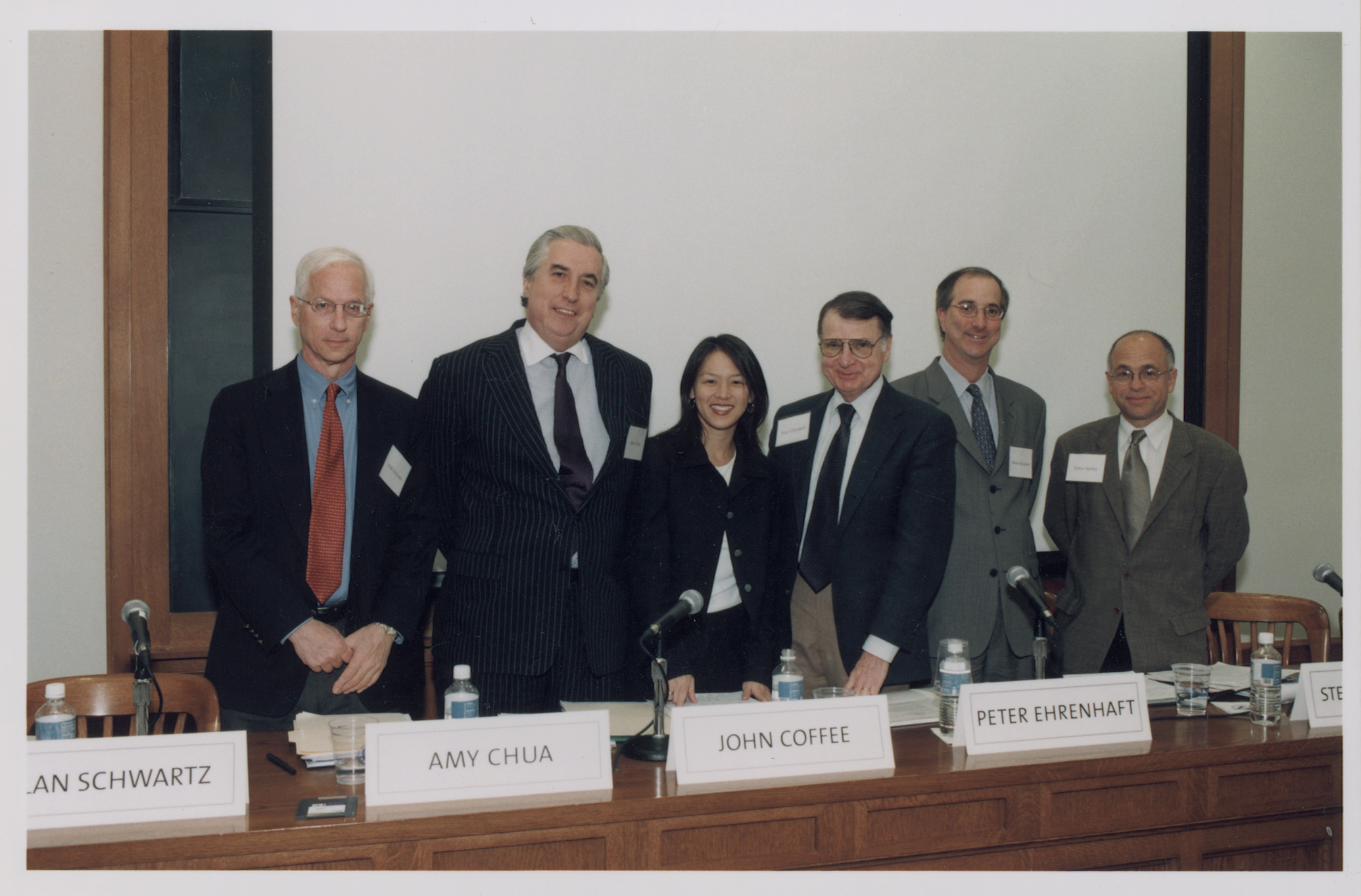 YLS Prof. Alan Schwartz '64, Columbia Law Prof. John C. Coffee, Jr. '69, YLS Prof. Amy Chua, Peter D. Ehrenhaft, Steven Kargman '86, and Pablo Spiller
