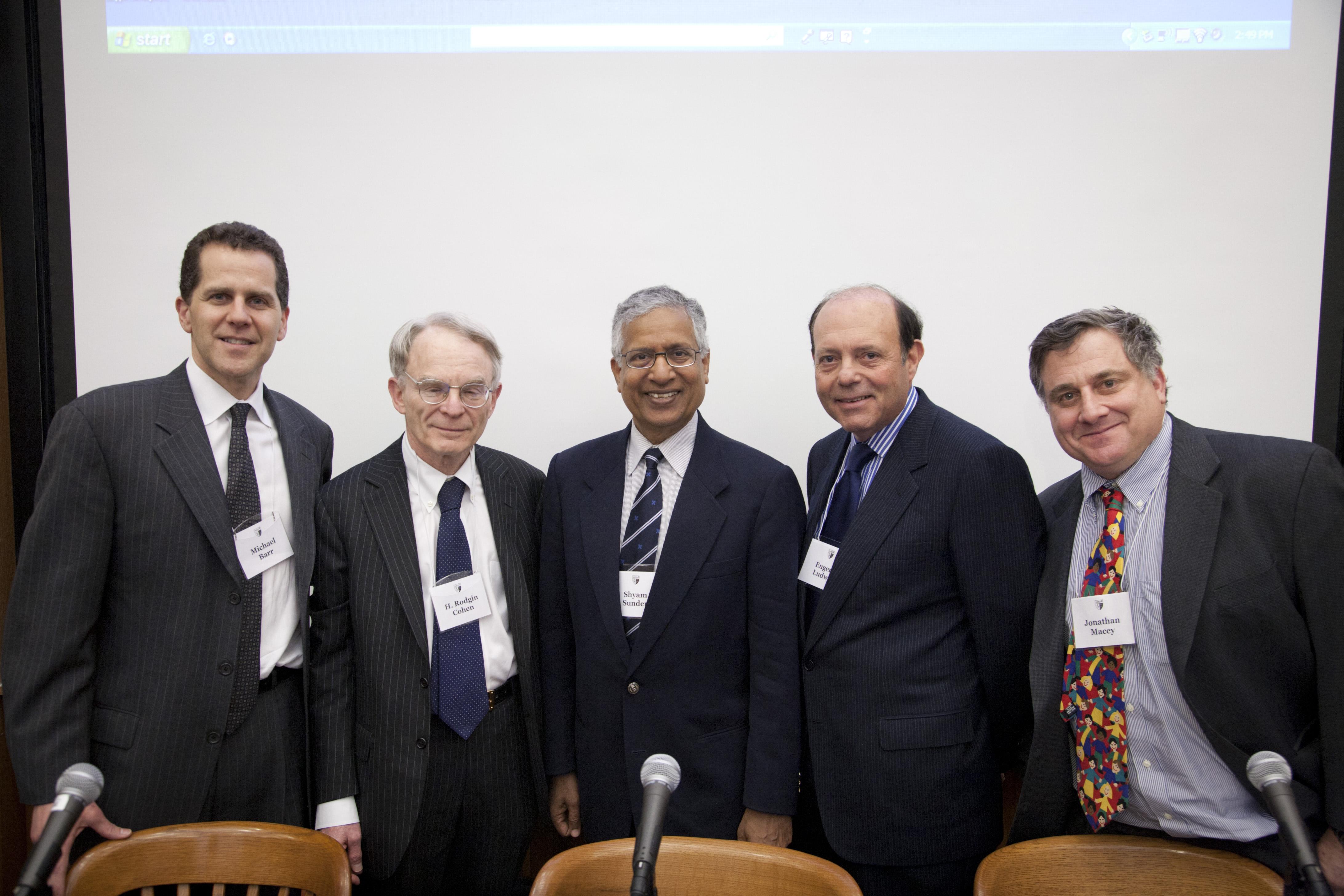 Michigan Law Prof. Michael Barr '92, H. Rodgin Cohen, Yale SOM Prof. Shyam Sunder, Eugene Ludwig '73, and YLS Prof. Jonathan Macey '82