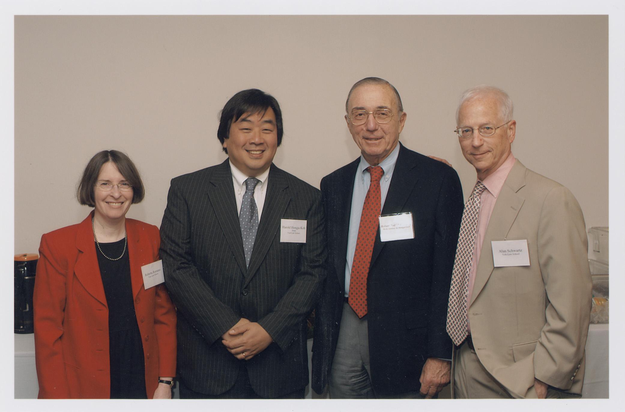 YLS Prof. and Center Dir. Roberta Romano '80, YLS Dean Harold Hongju Koh, Robert Todd Lang '47, and YLS Prof. Alan Schwartz '64