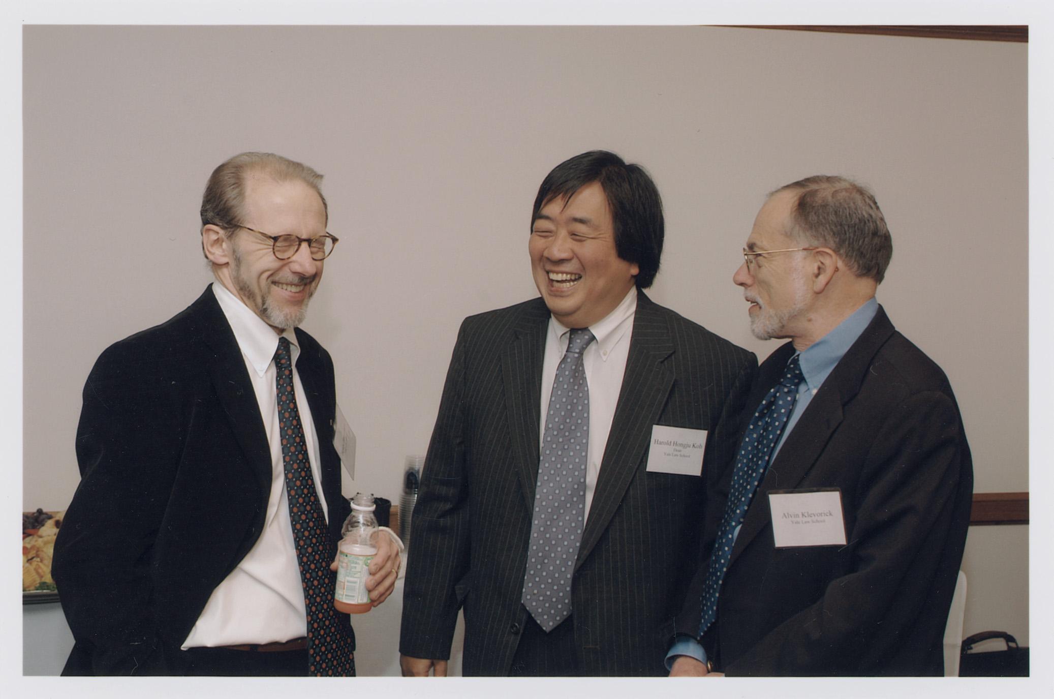 YLS Prof. Henry Hansmann '74, YLS Dean Harold Hongju Koh, and YLS Prof. Al Klevorick