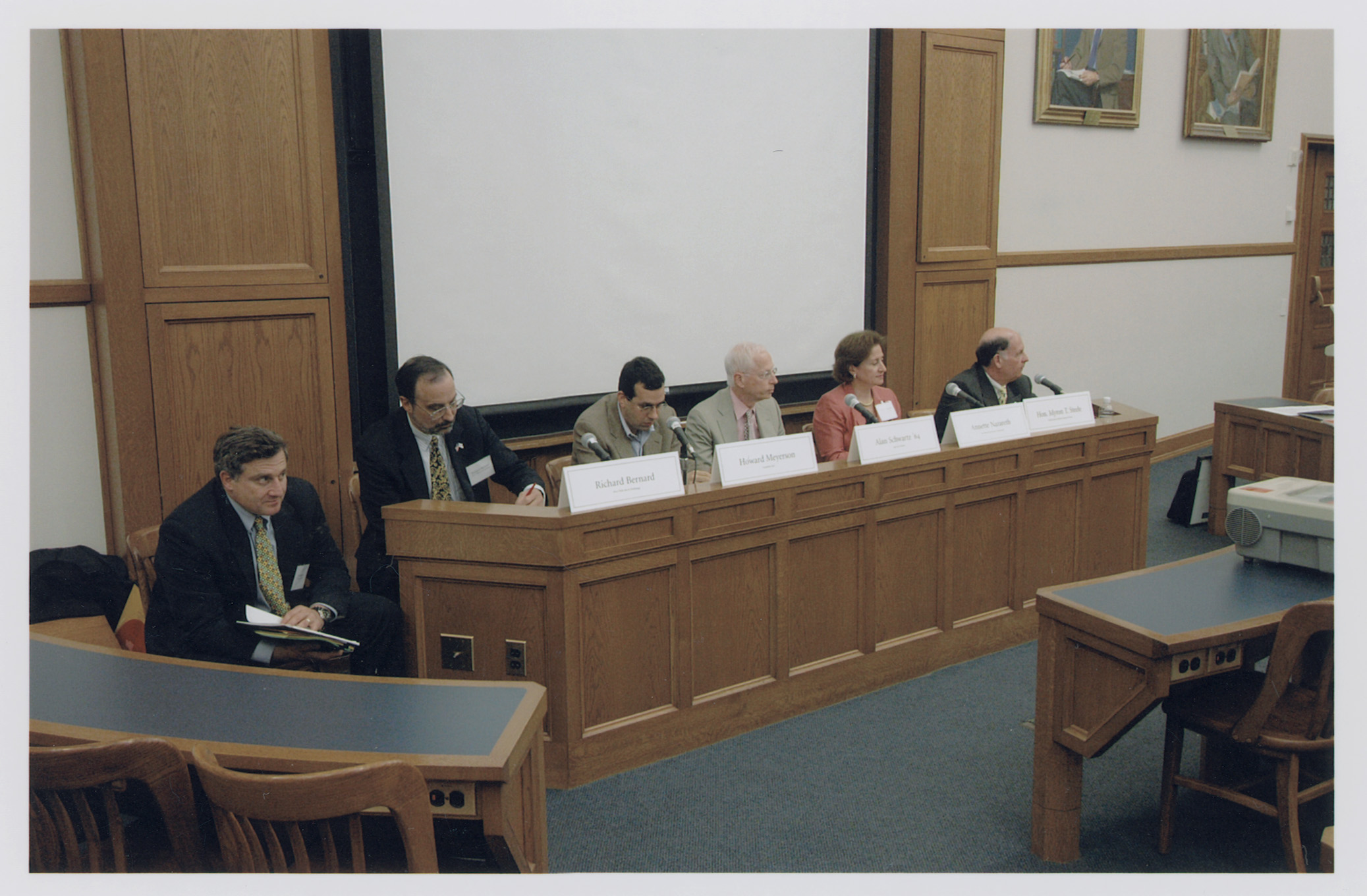 YLS Prof. Jonathan Macey '82, Richard Bernard, Howard Meyerson, YLS Prof. Alan Schwartz '64, Annette L. Nazareth, and Hon. Myron T. Steele