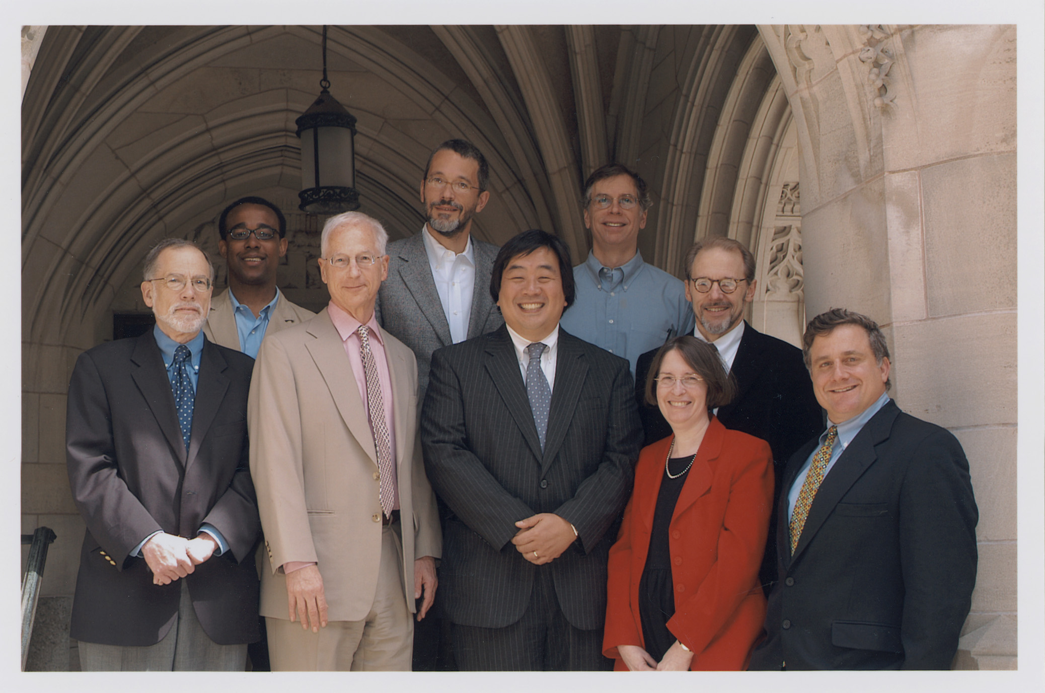 YLS Dean Harold Hongju Koh and YLS Prof. and Center Dir. Roberta Romano '80 (Center) and YLS Profs. Al Klevorick, Richard Brooks, Alan Schwartz '64, Ian Ayres '86, John Donohue, Henry Hansmann '74, and Jonathan Macey '82 (From Left)