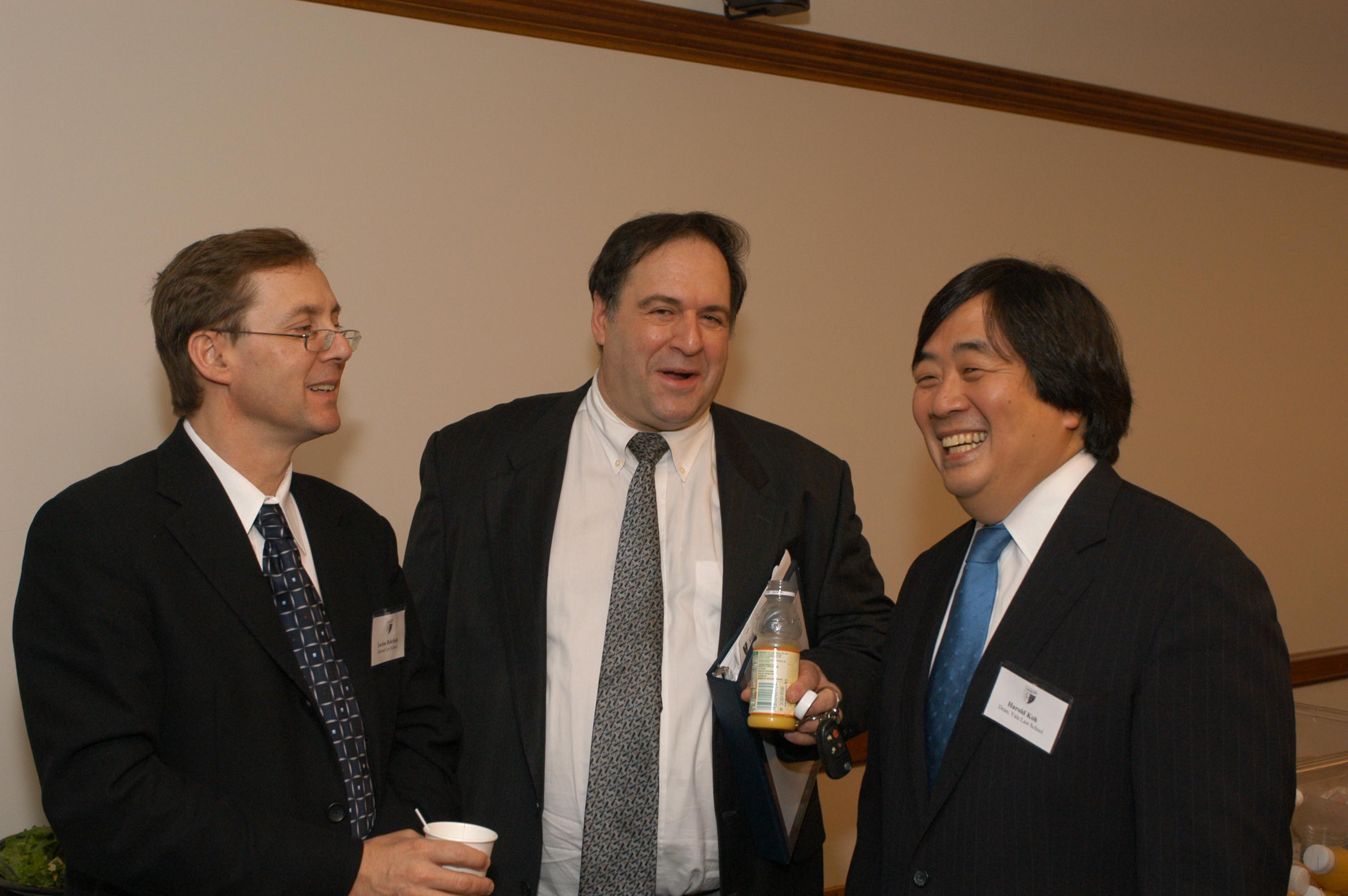 Harvard Law Prof. Lucian Bebchuk, Yale SOM Prof. Jeffrey Sonnenfeld, and YLS Dean Harold Hongju Koh