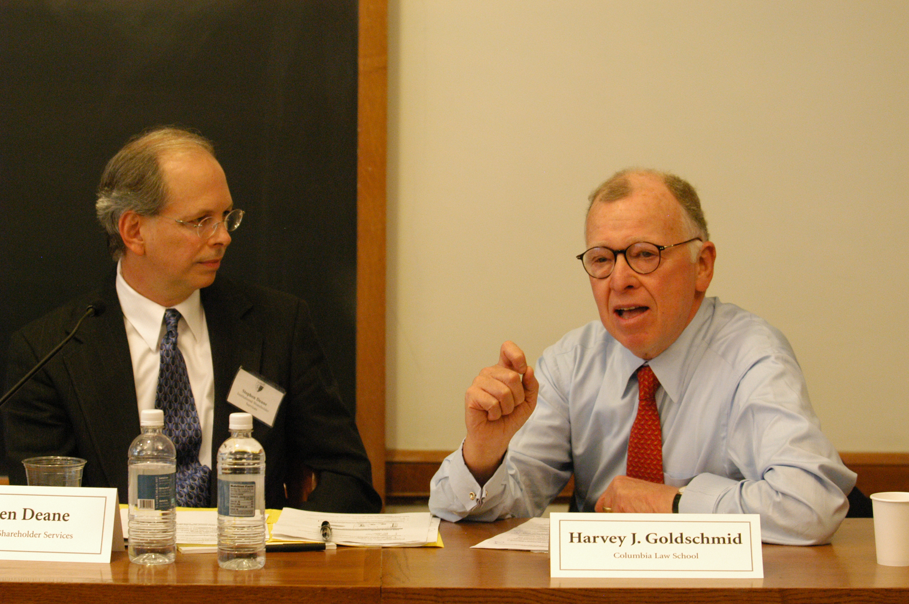 Stephen Deane and Columbia Law Prof. Harvey Goldschmid