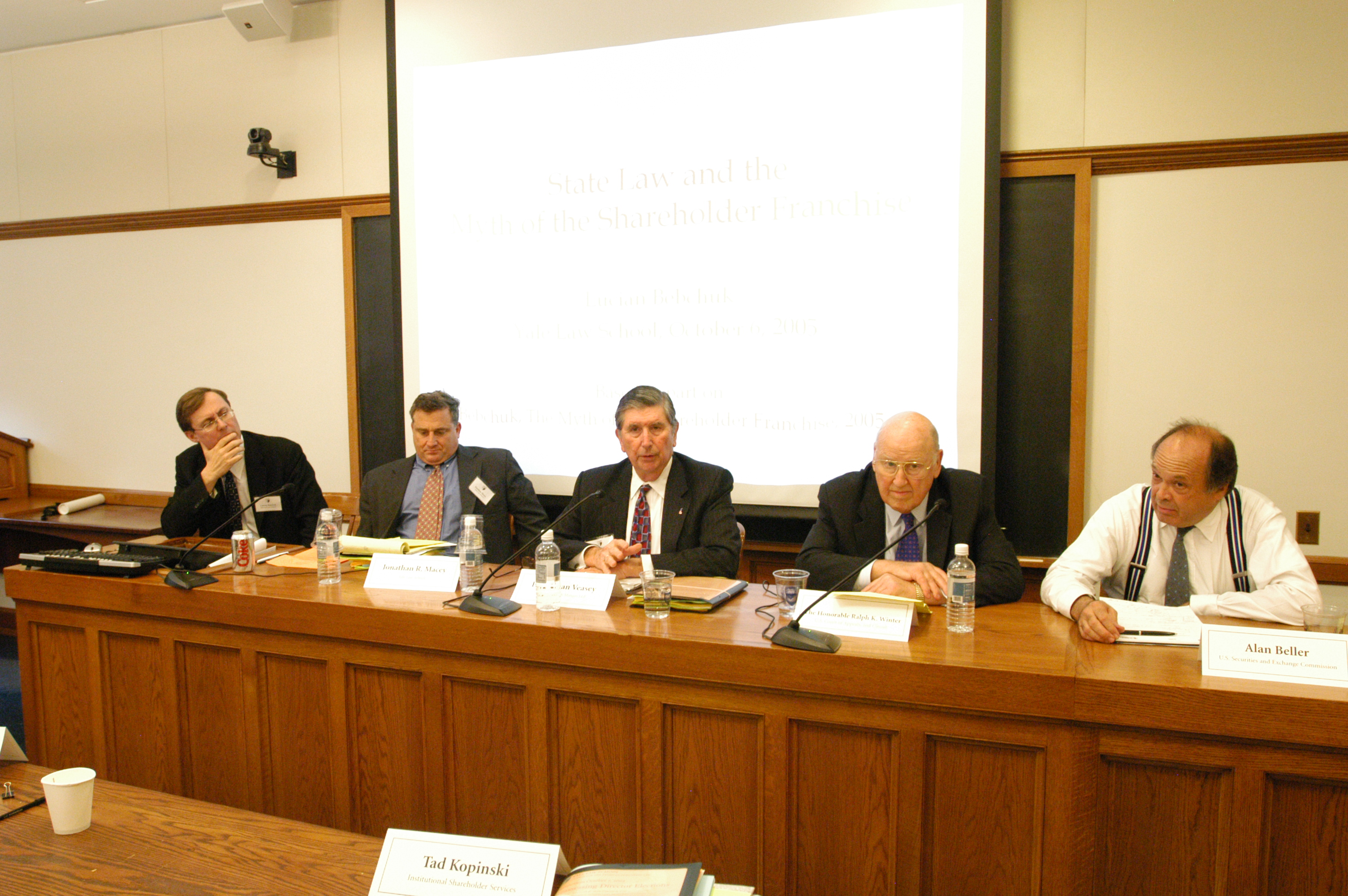 Harvard Law Prof. Lucian Bebchuk, YLS Prof. Jonathan Macey '82, Hon. E. Norman Veasey, Hon. Ralph Winter '60, and Alan Beller