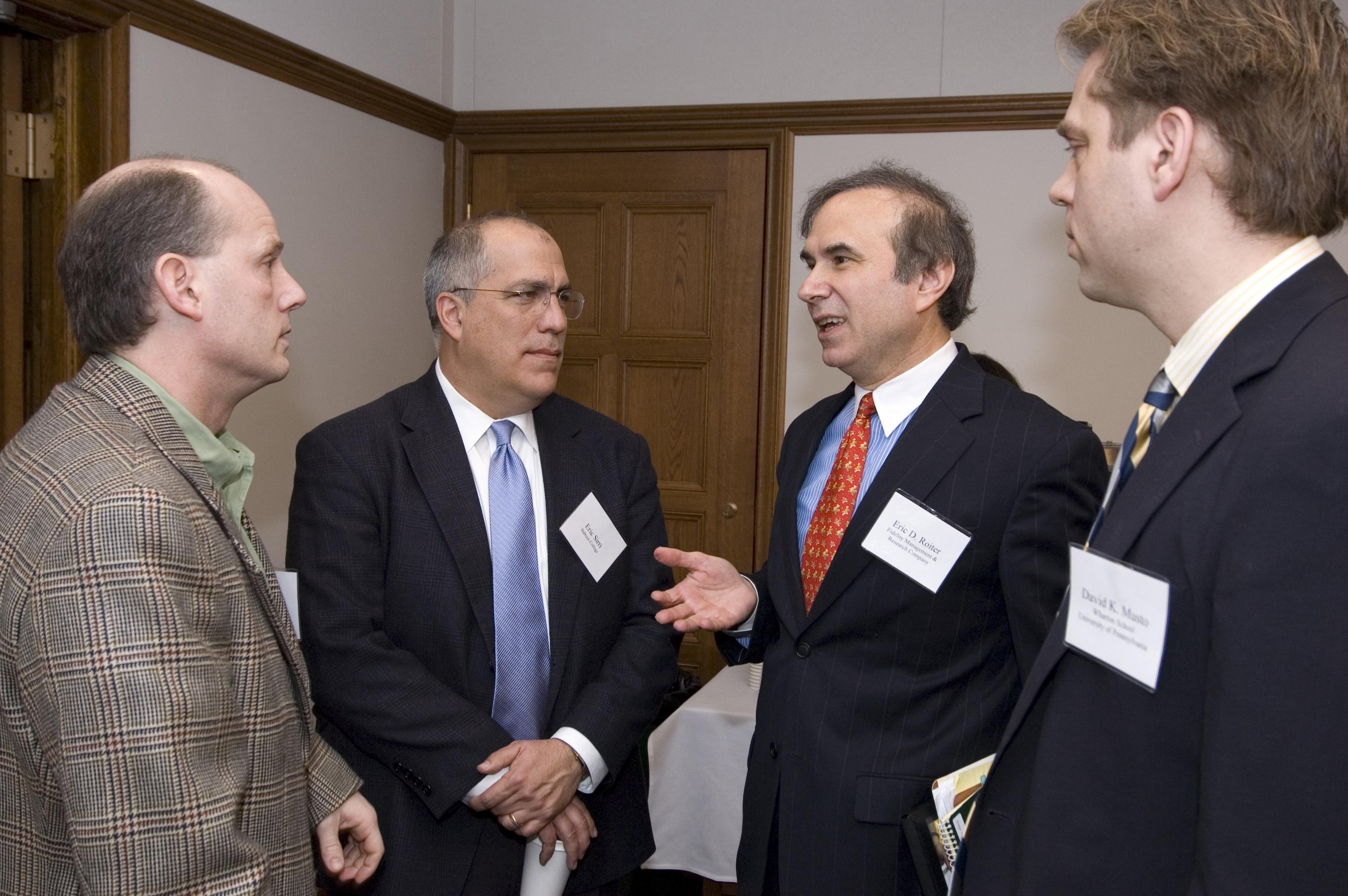 Hon. Leo Strine, Babson College Prof. Erik Sirri, Eric Roiter, and Wharton Prof. David Musto