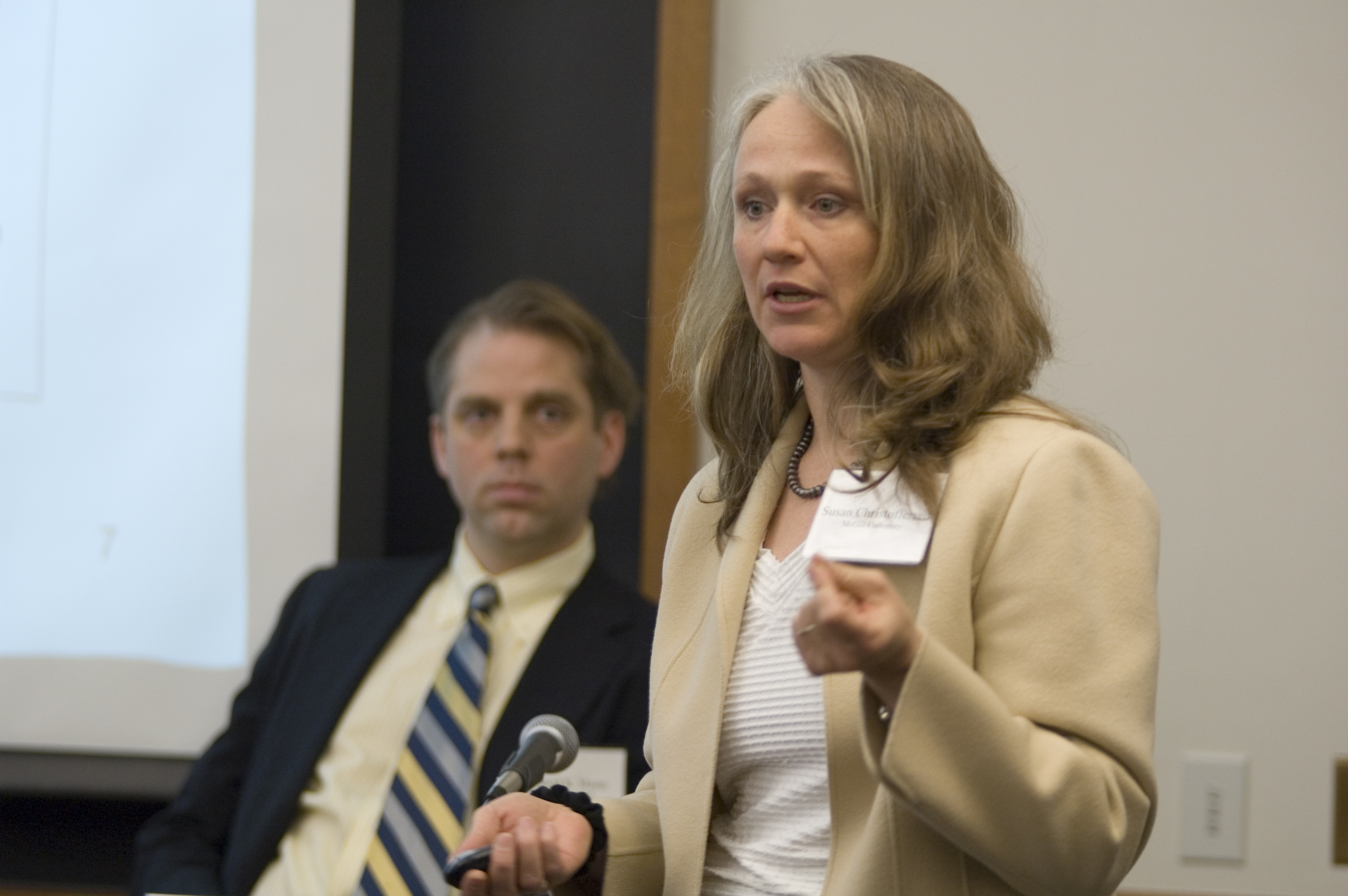 McGill U. Prof. Susan Kerr Christofferson (foreground) and Wharton Prof. David Musto (background)