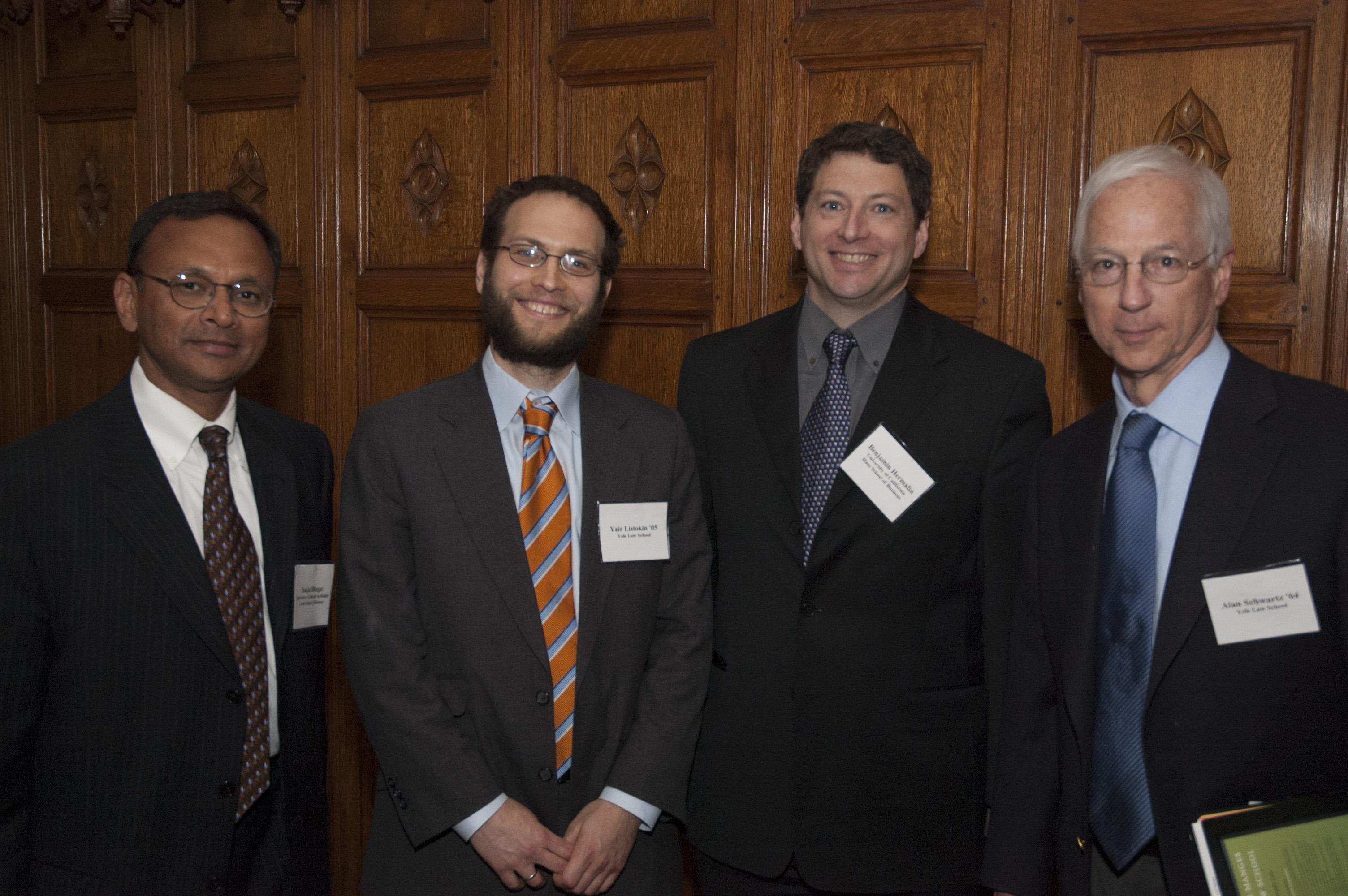 U. of Colorado Prof. Sanjai Bhagat, YLS Prof. Yair Listokin '05, Berkeley Hass Prof. Benjamin Hermalin, and YLS Prof. Alan Schwartz '64