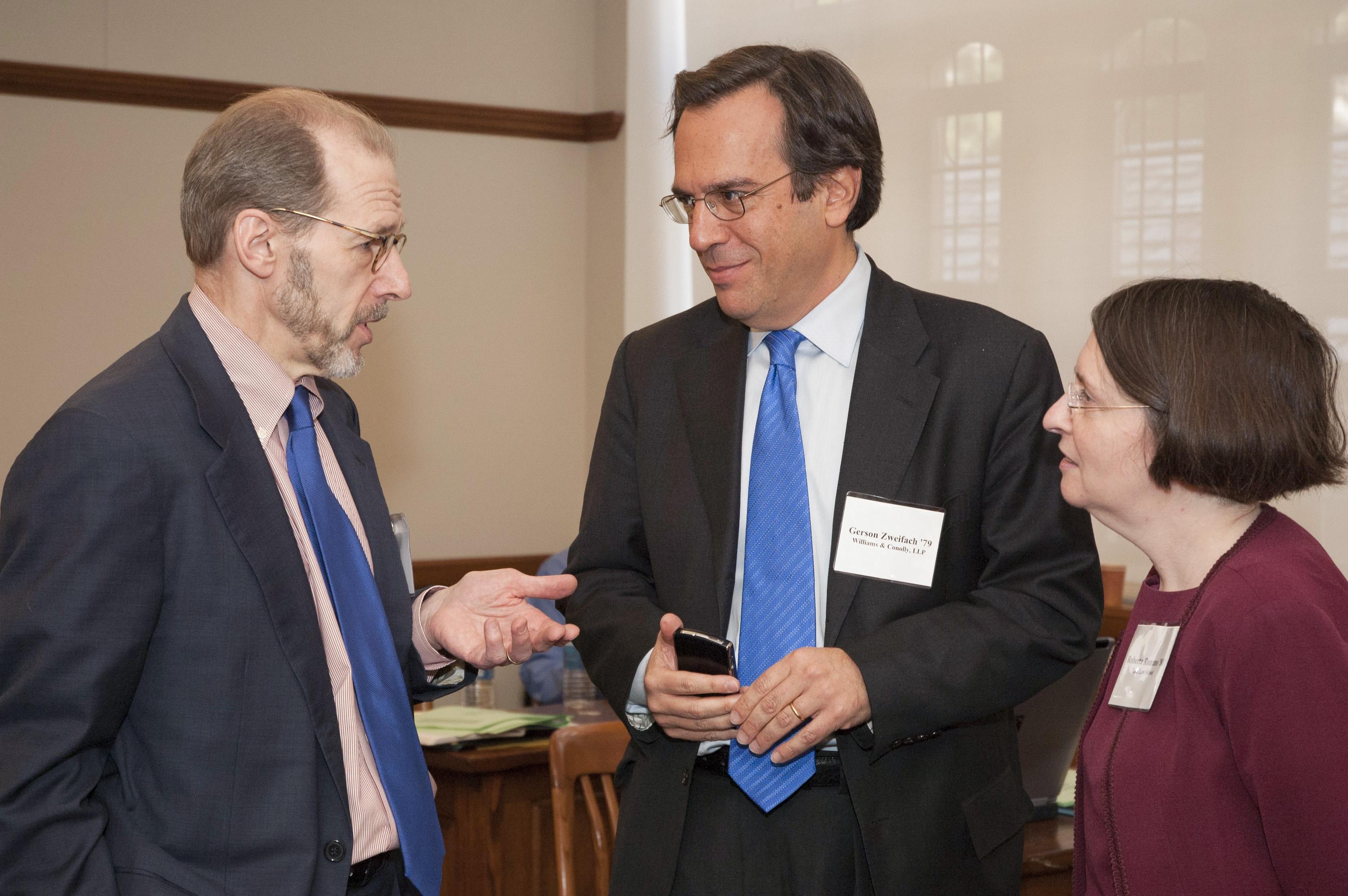 YLS Prof. Henry Hansmann '74, Gerson Zweifach '79, and YLS Prof. and Center Dir. Roberta Romano '80