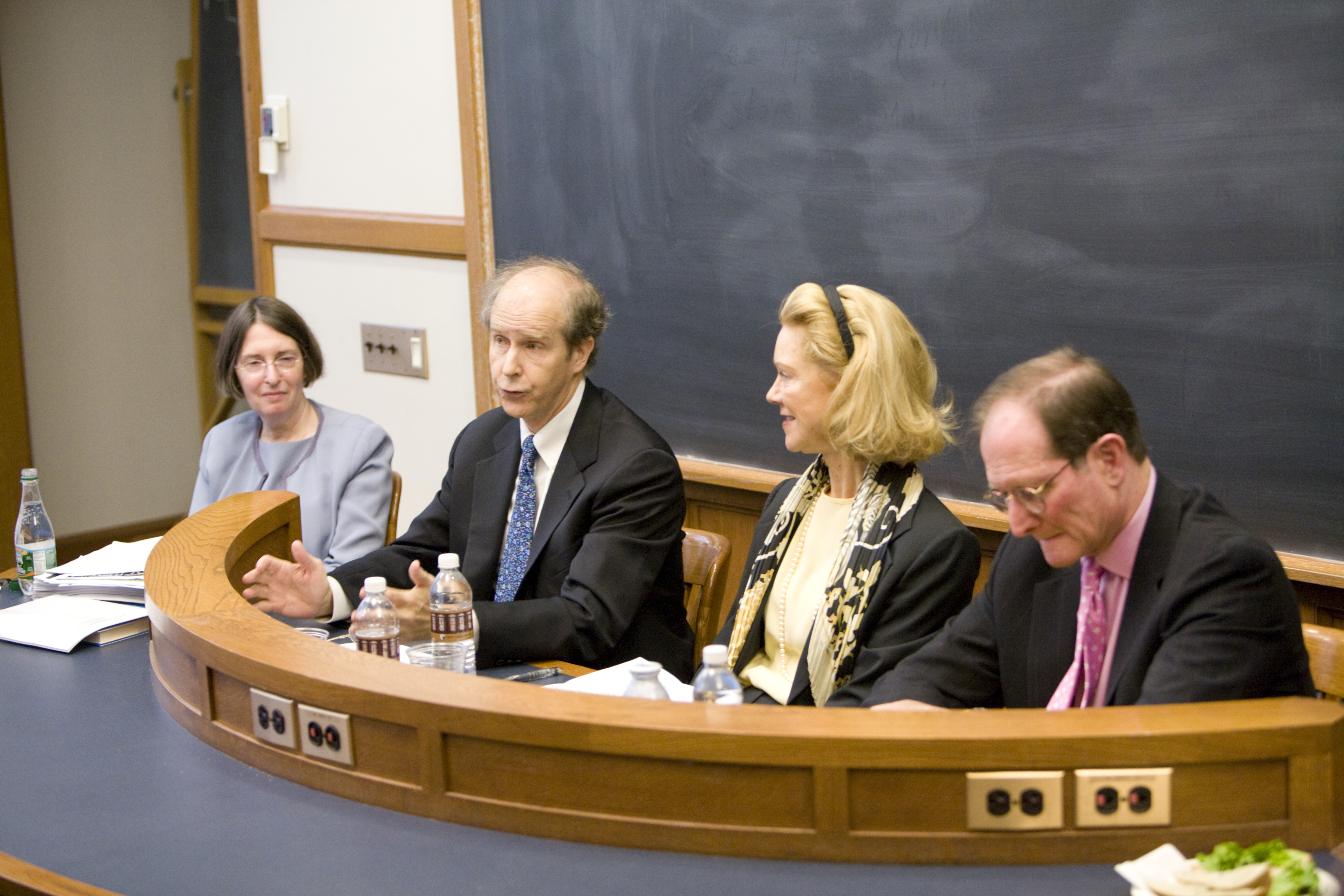 YLS Prof. and Center Dir. Roberta Romano '80, William McDavid '72, Siri Marshall '74, and Ben Heineman '71