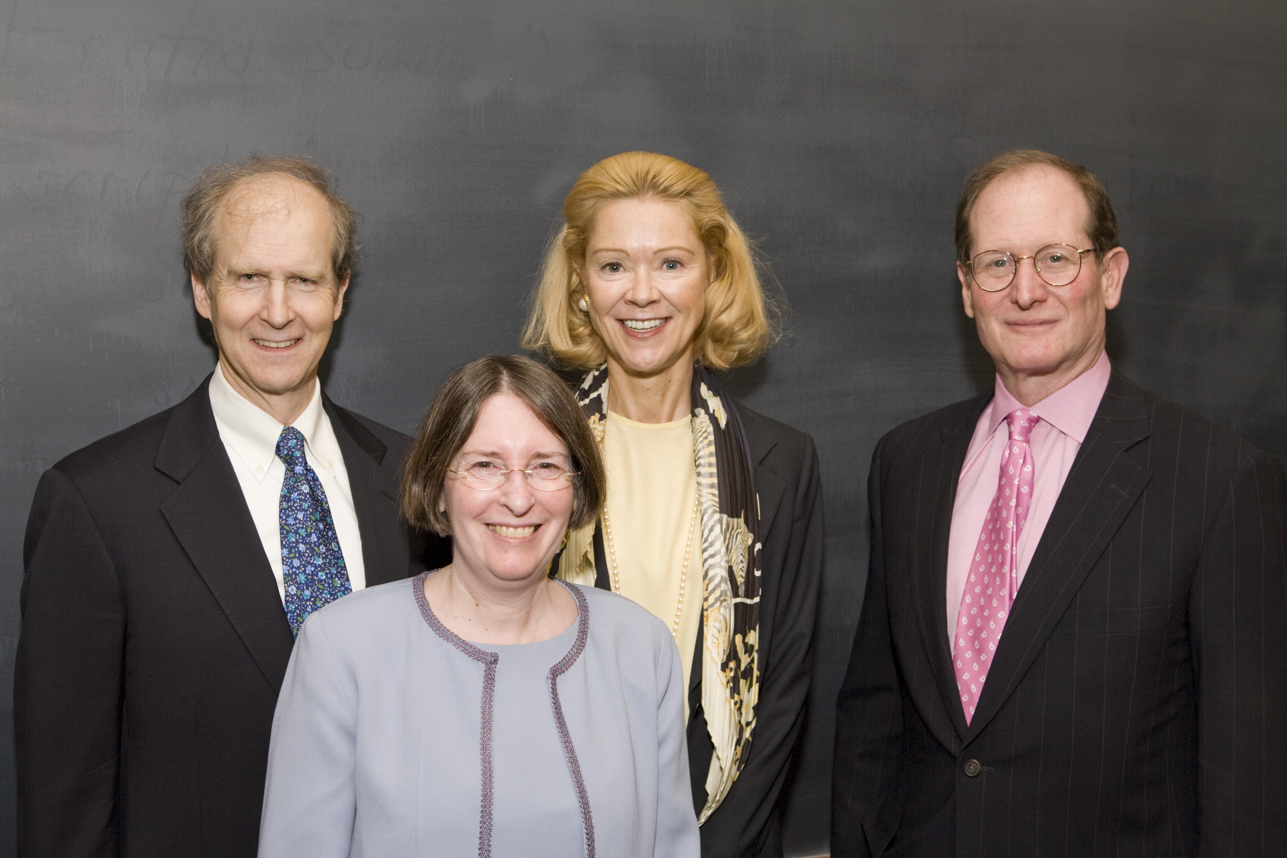 William McDavid '72, YLS Prof. and Center Dir. Roberta Romano '80, Siri Marshall '74, and Ben Heineman '71