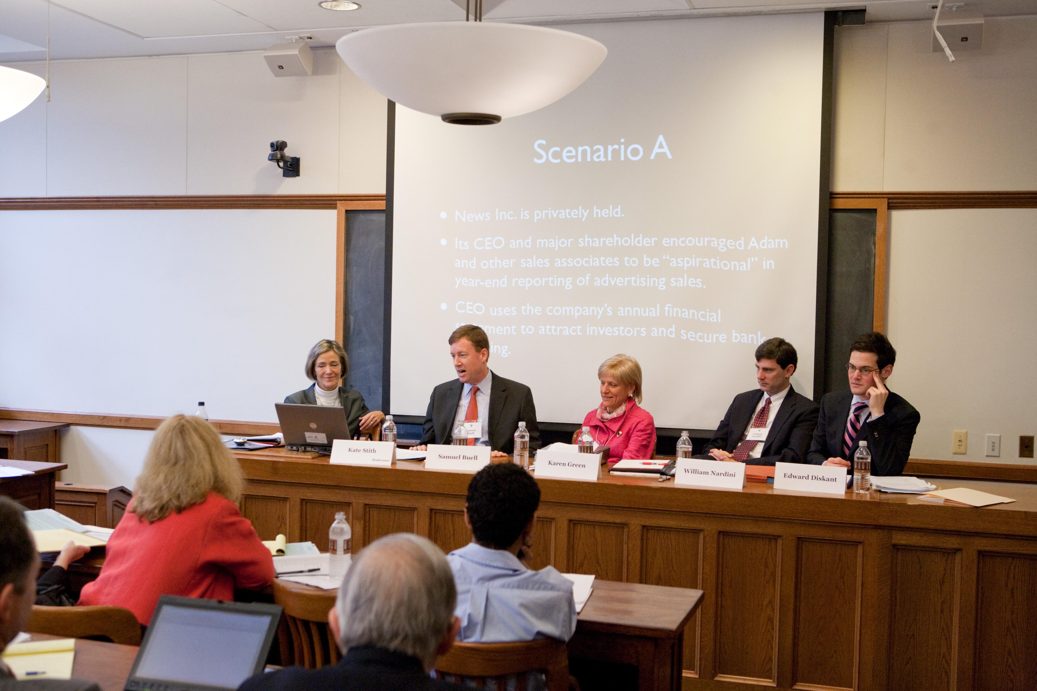YLS Prof. Kate Stith, Washington U. Law Prof. Samuel Buell, Karen Green, William Nardini '94, and Edward Diskant '08