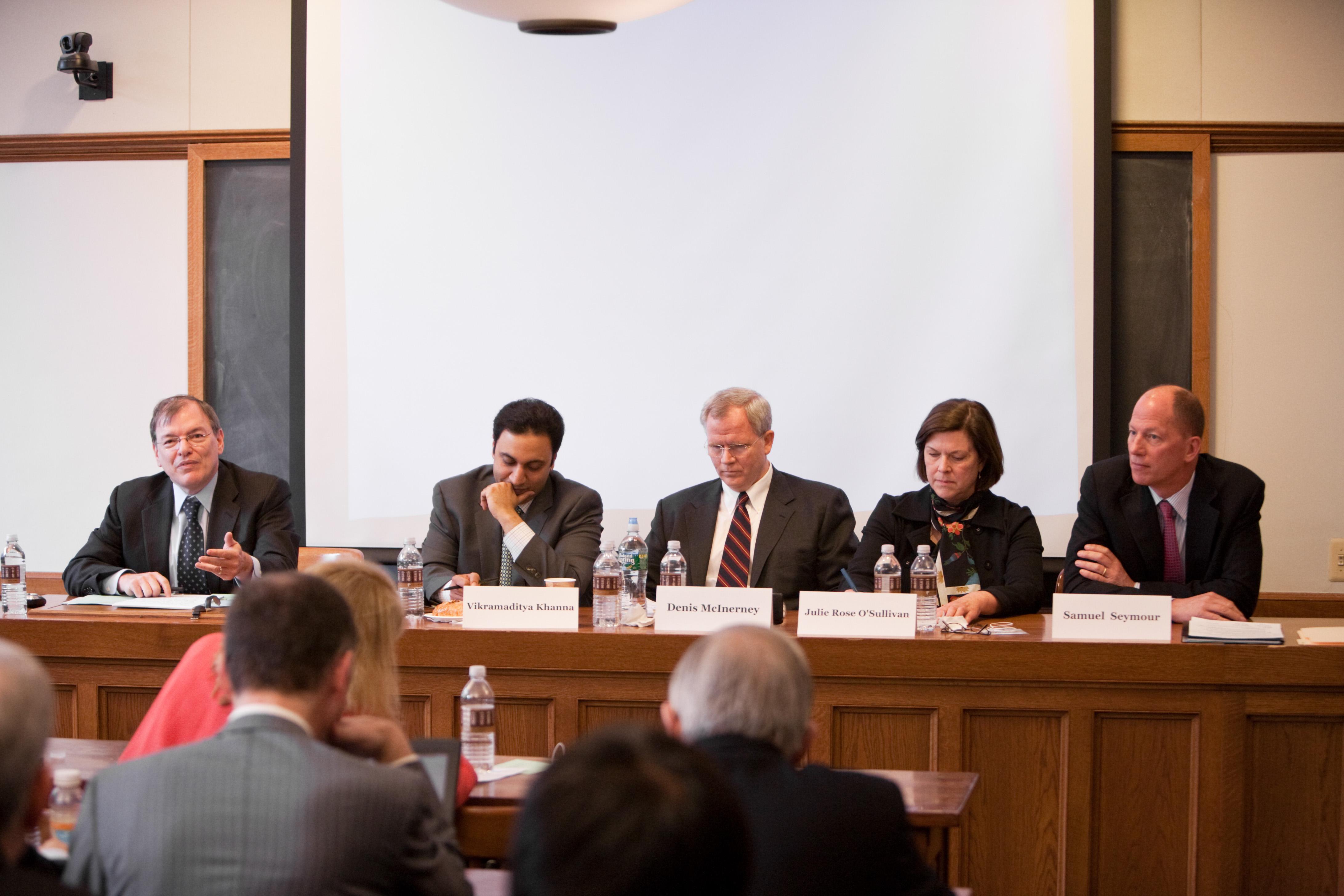 Hon. Gerard Lynch, Michigan Law Prof. Vic Khanna, Denis McInerney, Georgetown Law Prof. Julie O'Sullivan, and Samuel Seymour