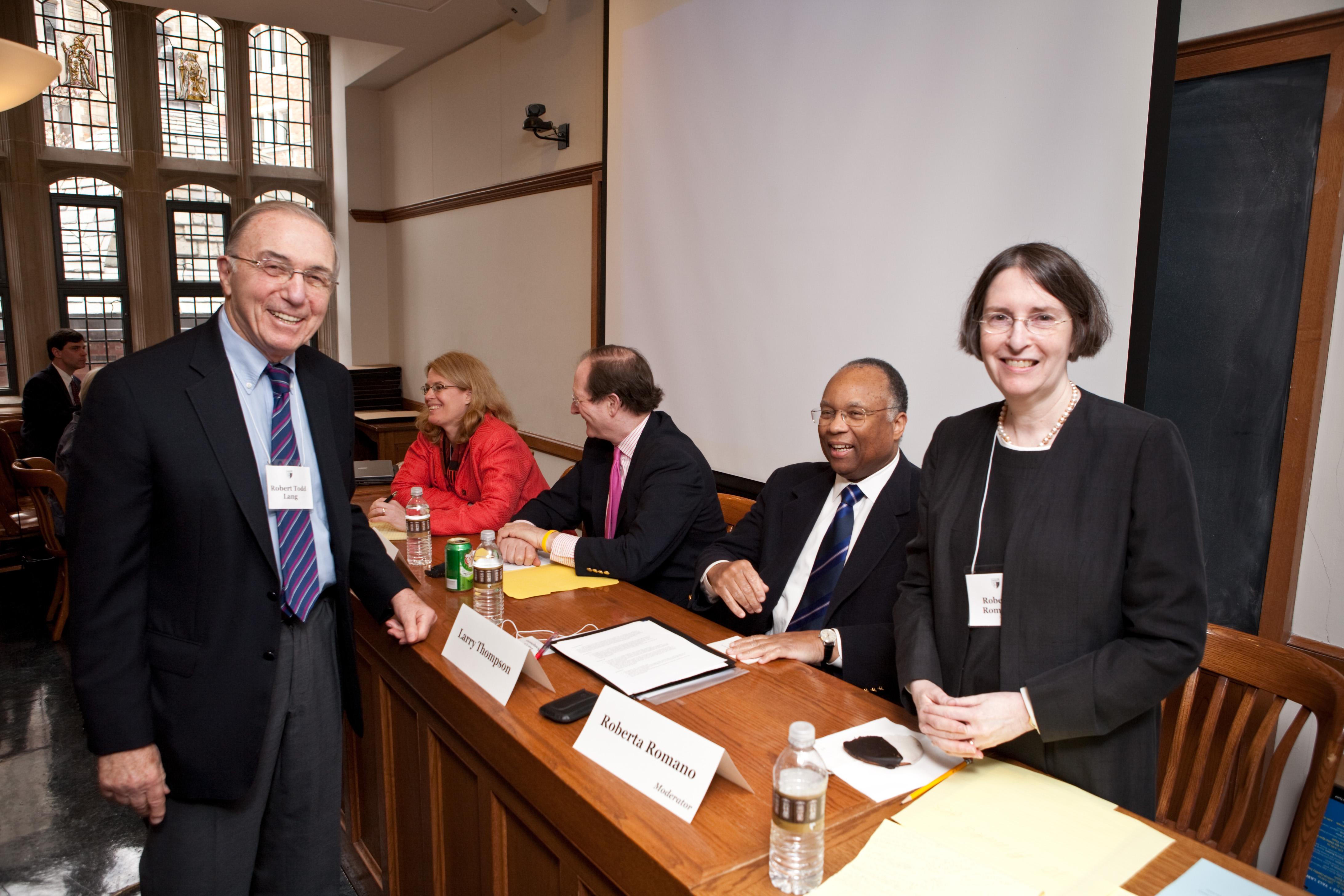 Robert Todd Lang '47, NYU Law Prof. Jennifer Arlen, Ben Heineman '71, Larry Thompson, and YLS Prof. and Center Dir. Roberta Romano '80