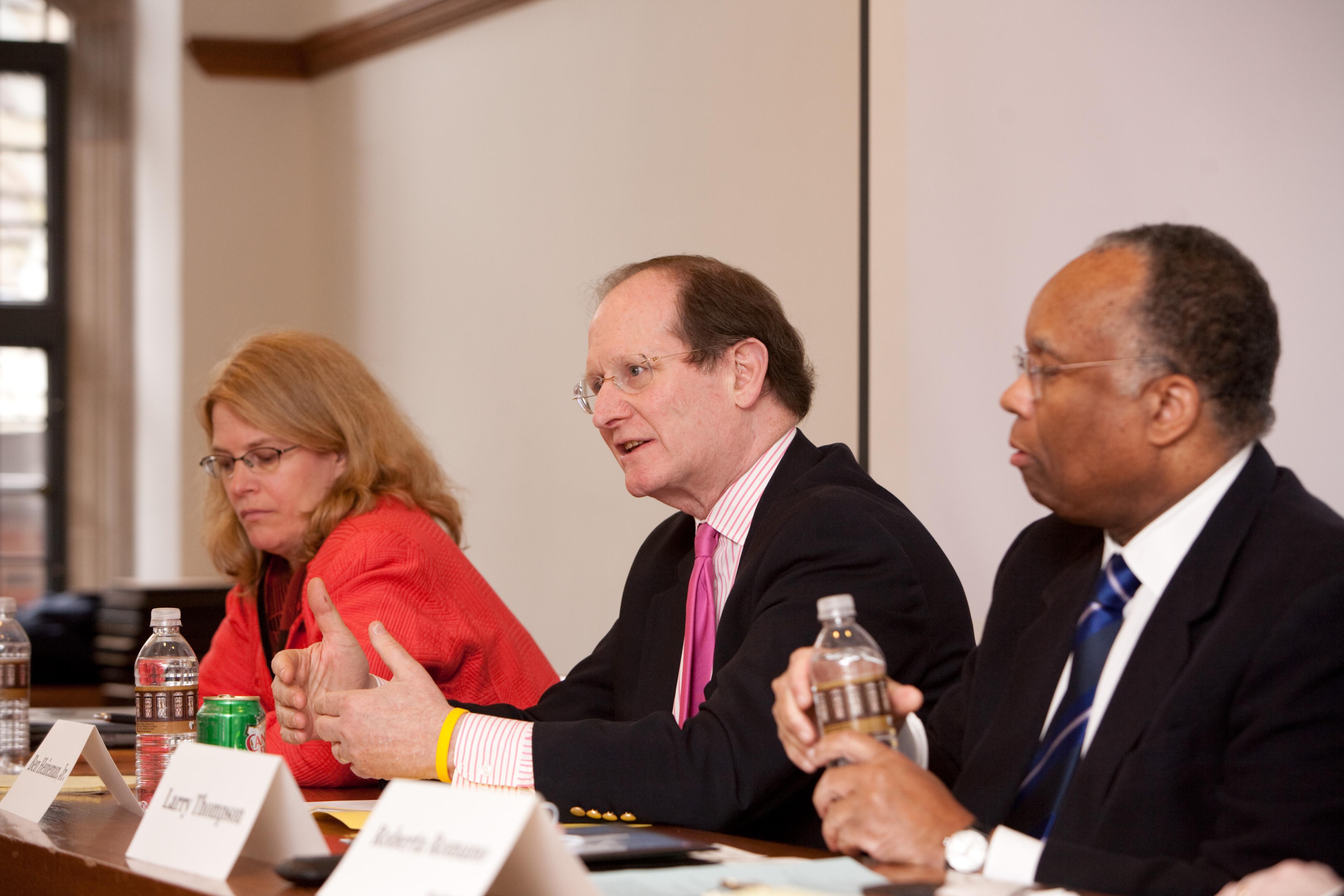 NYU Law Prof. Jennifer Arlen, Ben Heineman '71, and Larry Thompson