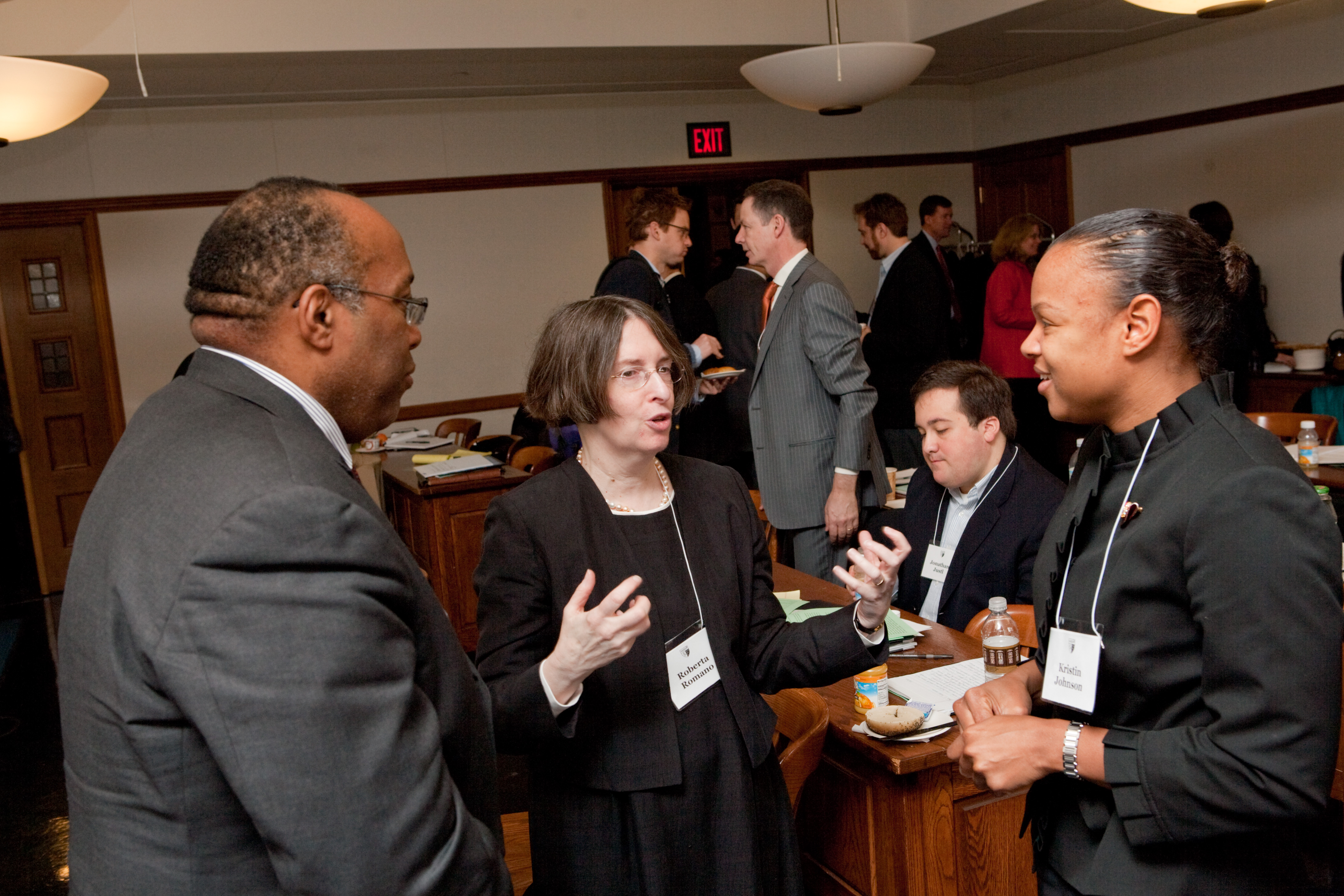 Francis Byrd, YLS Prof. and Center Dir. Roberta Romano '80, and Seton Hall Law Prof. Kristin Johnson