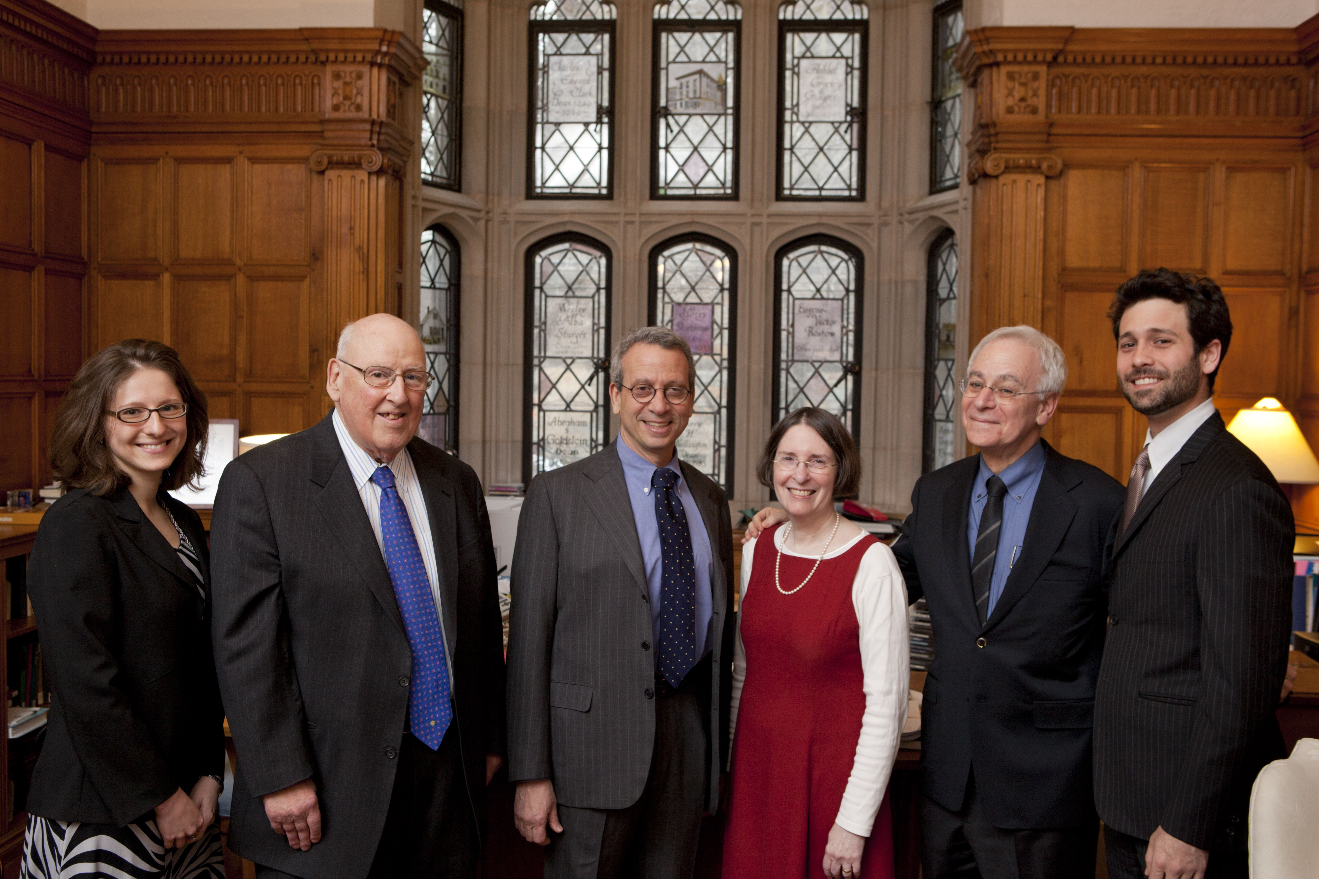 Natalya Shnitser '09, Judge Ralph Winter '60, MIT Econ. Prof. Stephen A. Ross, YLS Prof. and Center Dir. Roberta Romano '80, YLS Dean Robert Post '77, and Andrew Verstein '09