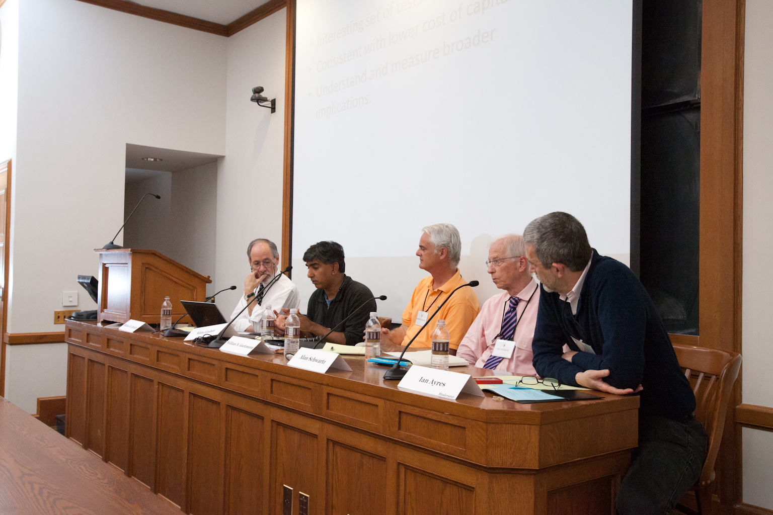 Duke Business and Law Prof. Michael Bradley, Duke Law Prof. Mitu Gulati, Yale SOM Prof. William Goetzmann, and YLS Profs. Alan Schwartz '64 and Ian Ayres '86
