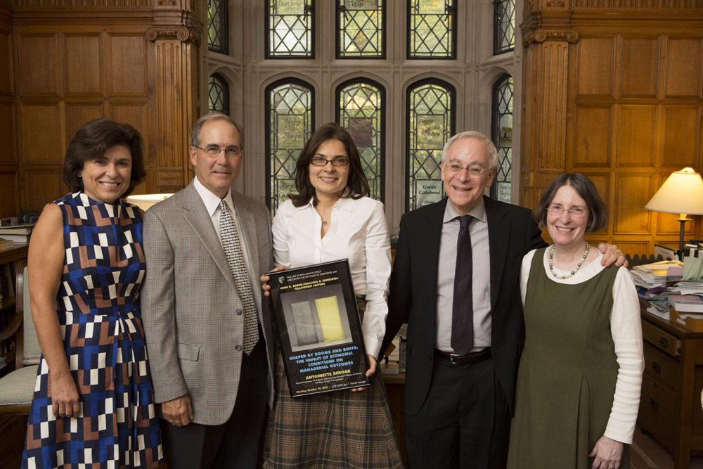 Marianna Ponns Cohen, John Raben, MIT Sloan Prof. Antoinette Schoar, YLS Dean Robert Post '77, YLS Prof. and Center Dir. Roberta Romano '80