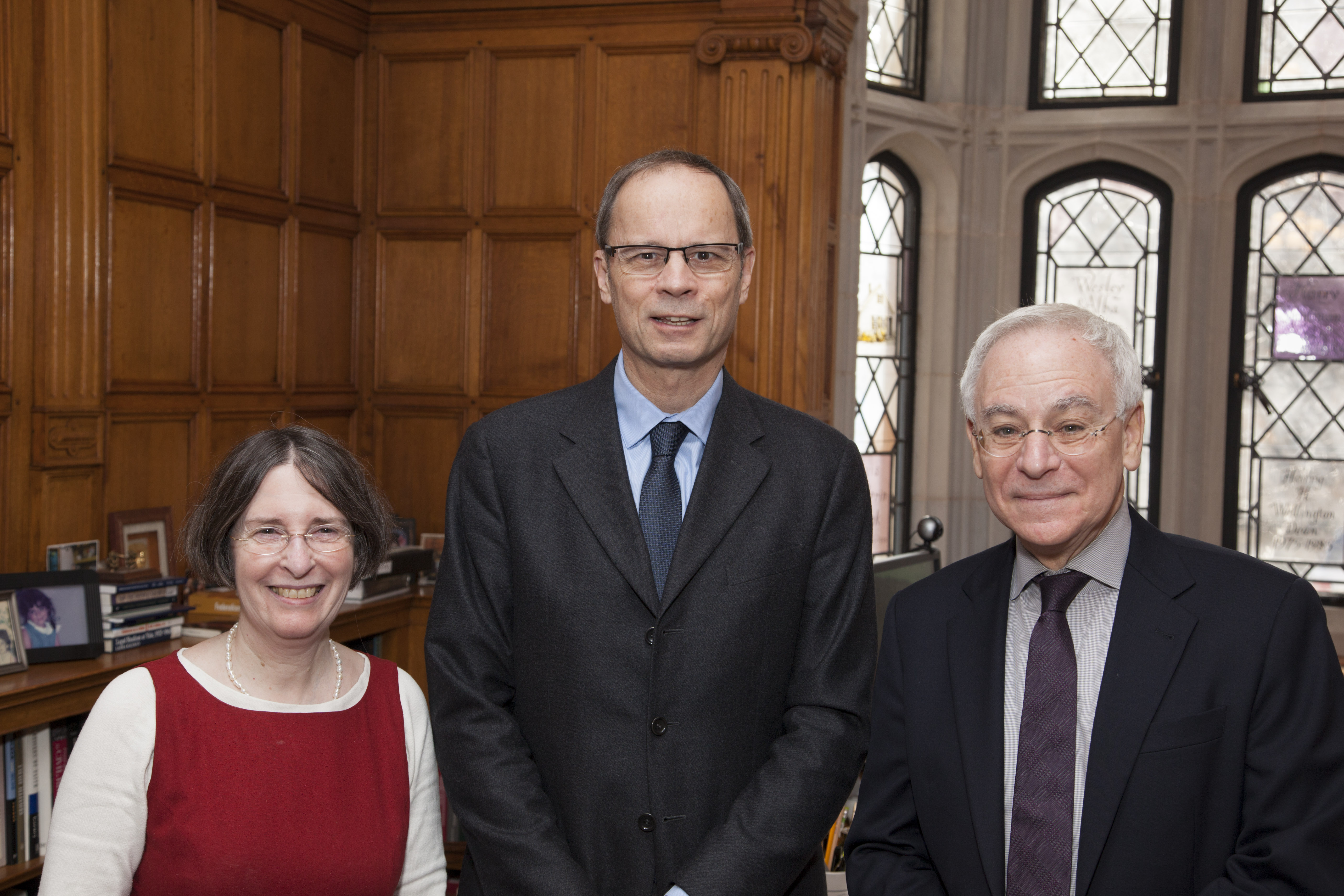YLS Prof. and Center Dir. Roberta Romano '80, Toulouse School of Economics Prof. Jean Tirole, and YLS Dean Robert Post '77