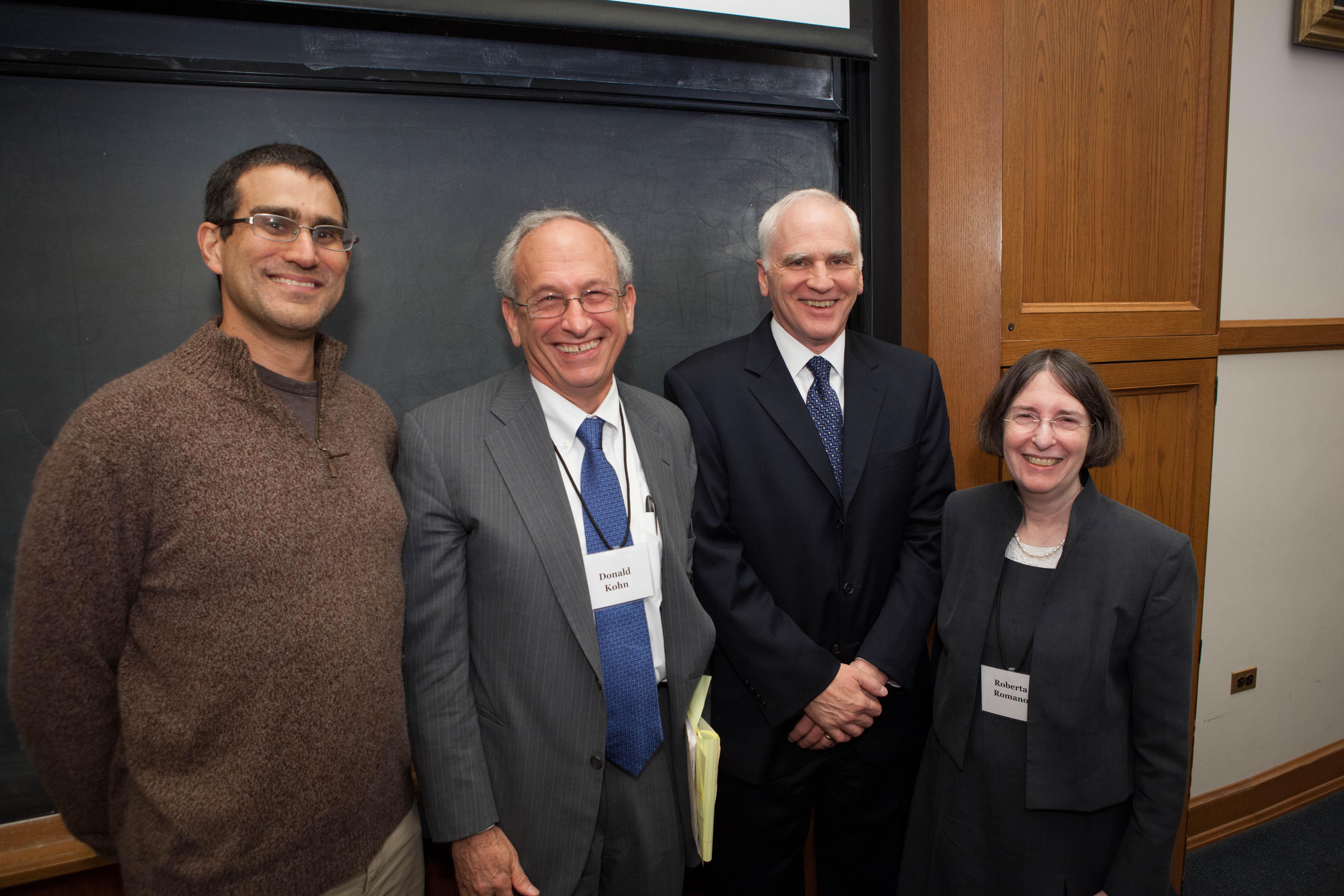 Yale SOM Prof. Andrew Metrick, Donald Kohn, Fed. Res. Bd. Gov. Daniel K. Tarullo, YLS Prof. and Center Dir. Roberta Romano '80