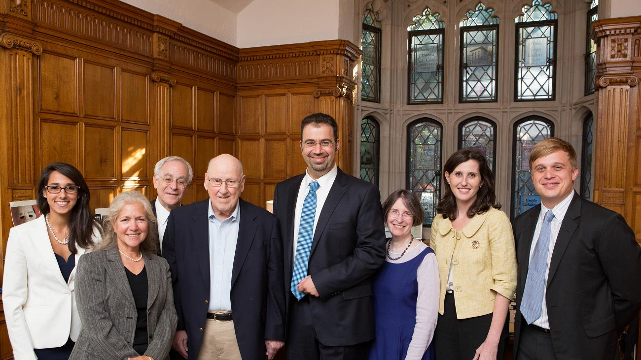 Kiran Sheffrin, Marc Arkin '82, YLS Dean Robert Post '77, Judge Ralph Winter '60, MIT Economics Prof. Daron Acemoglu, YLS Prof. and Center Dir. Roberta Romano '80, YLS Prof. Abbe Gluck '00, and Benjamin Fidler