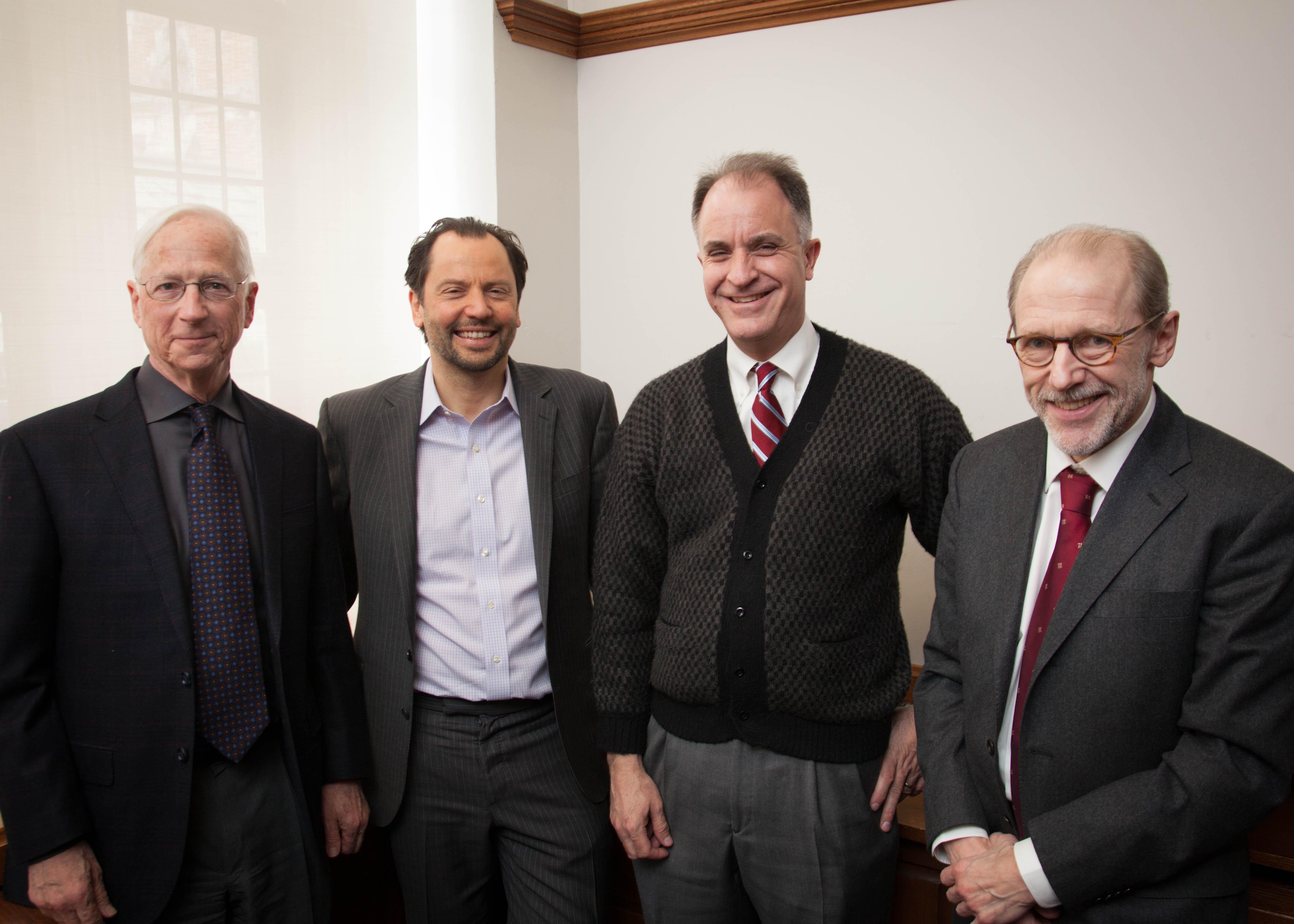 YLS Prof. Alan Schwartz '64, Chicago Booth Prof. Luigi Zingales, NYU Stern Prof. David Yermack, and YLS Prof. Henry Hansmann '74