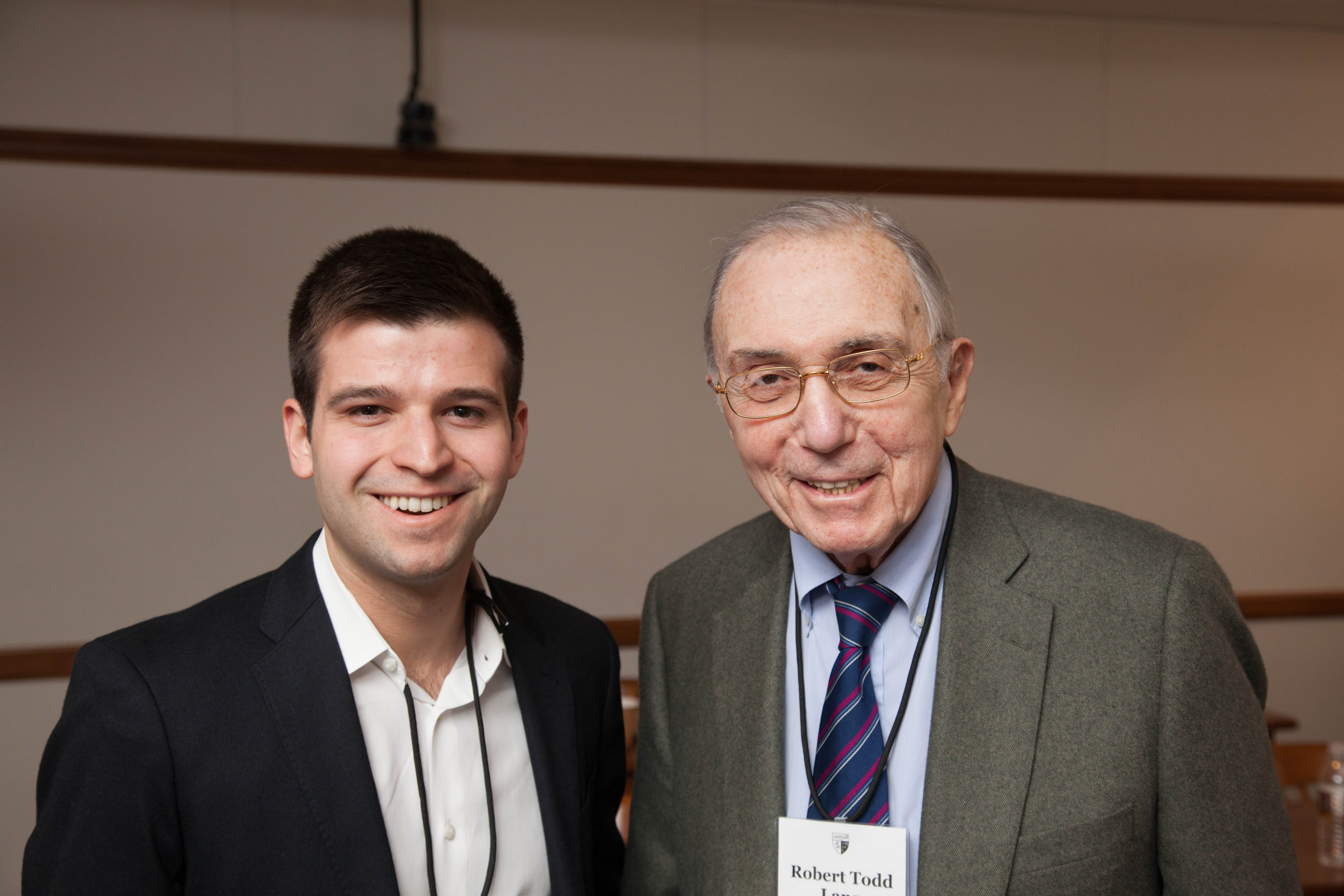 Tomas Rua '16 and Robert Todd Lang '47