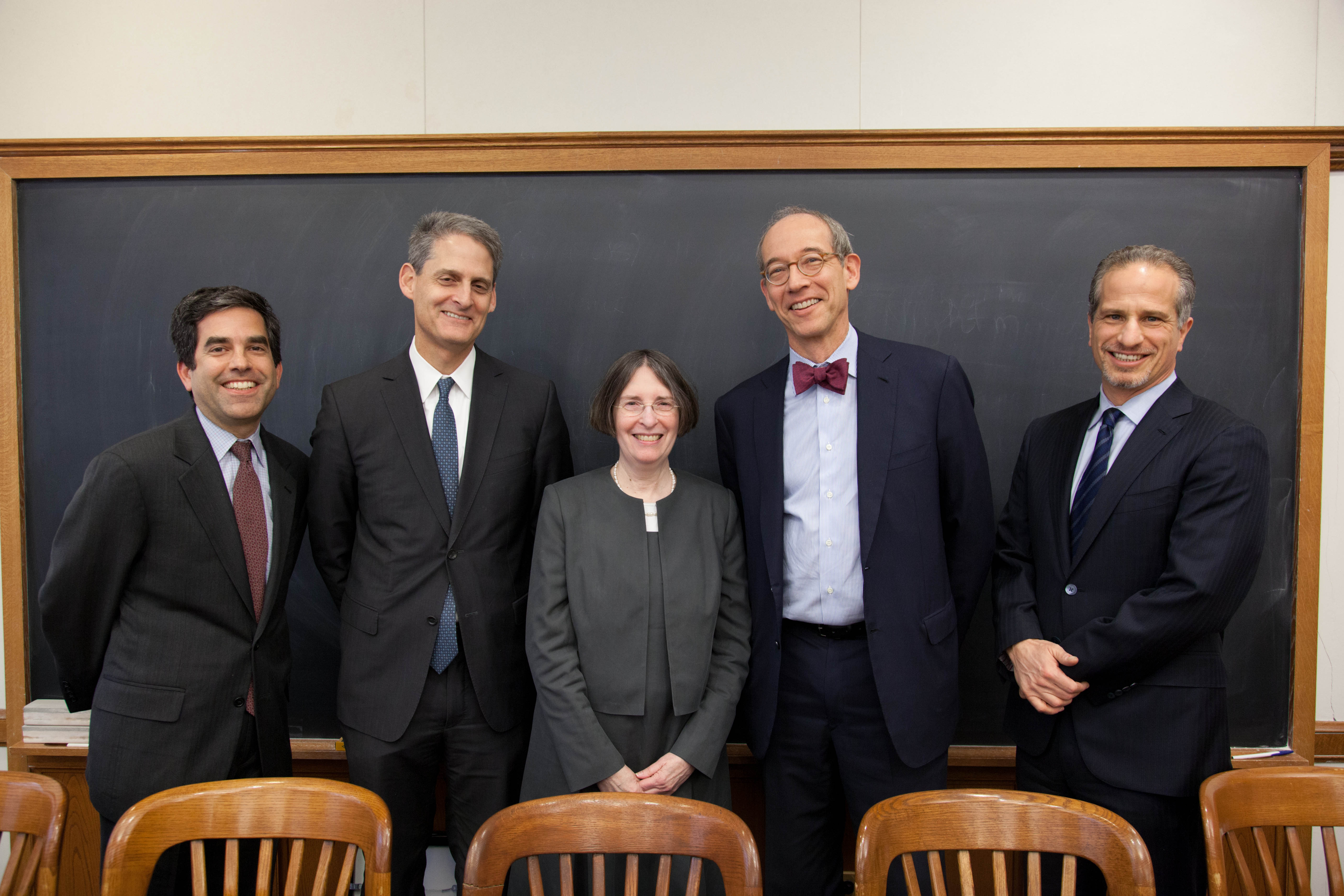 Andrew Ceresney '96, Stephen Cutler '85, YLS Prof. and Center Dir. Roberta Romano '80, Andrew Levander, and Richard Zabel